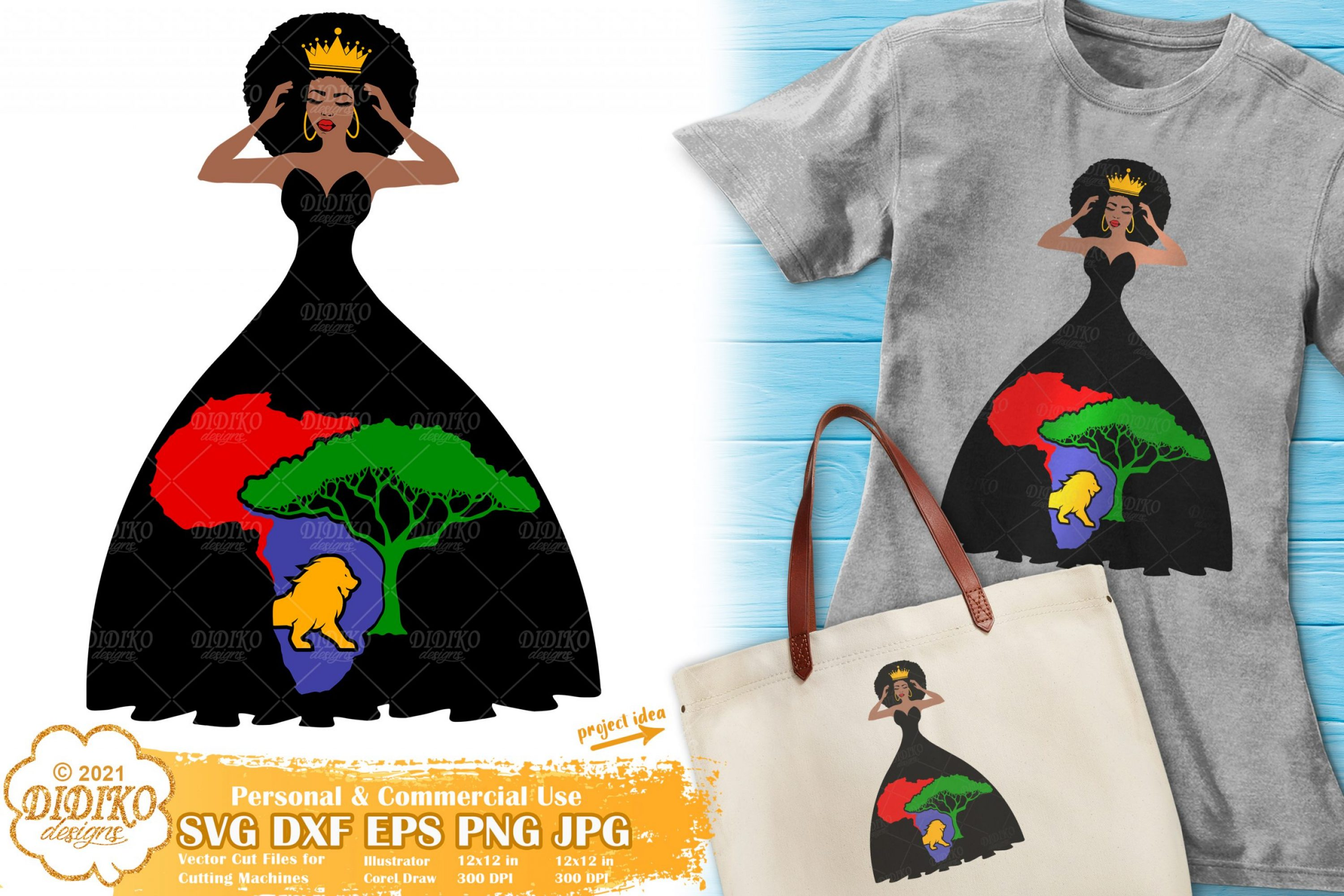 Afro Woman Crown SVG, Black History Svg, Africa Svg