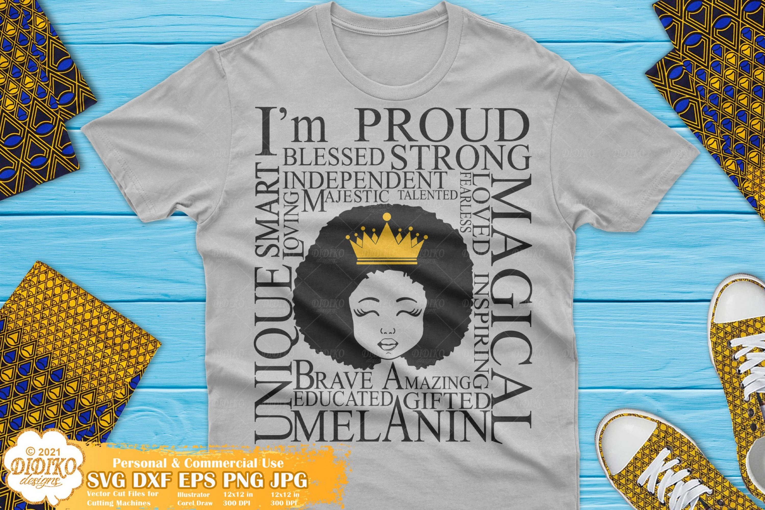 Afro Girl with Words SVG, Black girl magic Svg, Princess