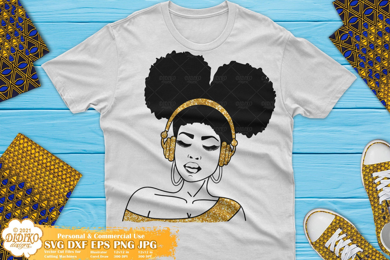 Black Woman Music SVG, Afro Woman svg, Melanin svg