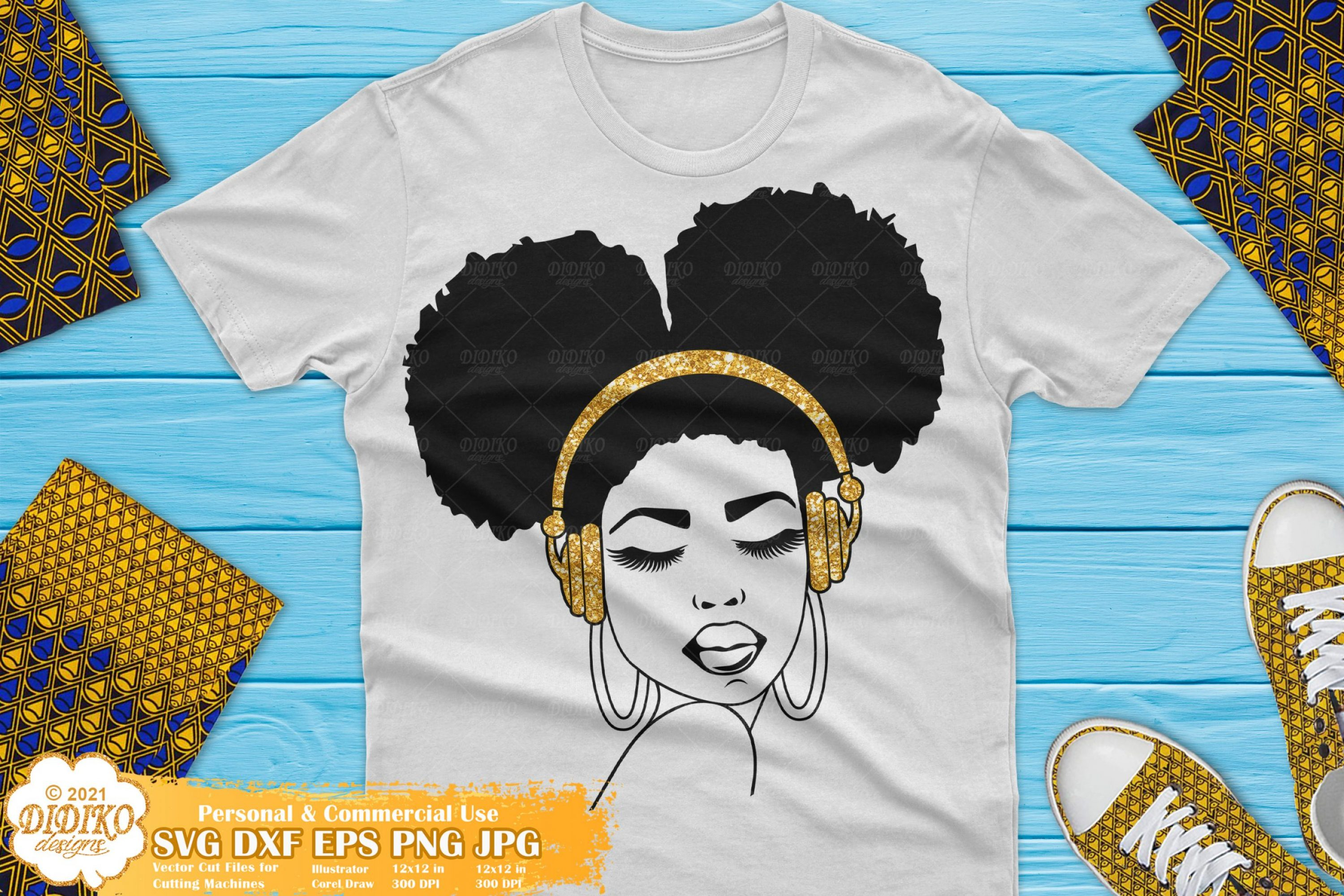 Afro Woman with Headphones SVG, Black girl magic svg