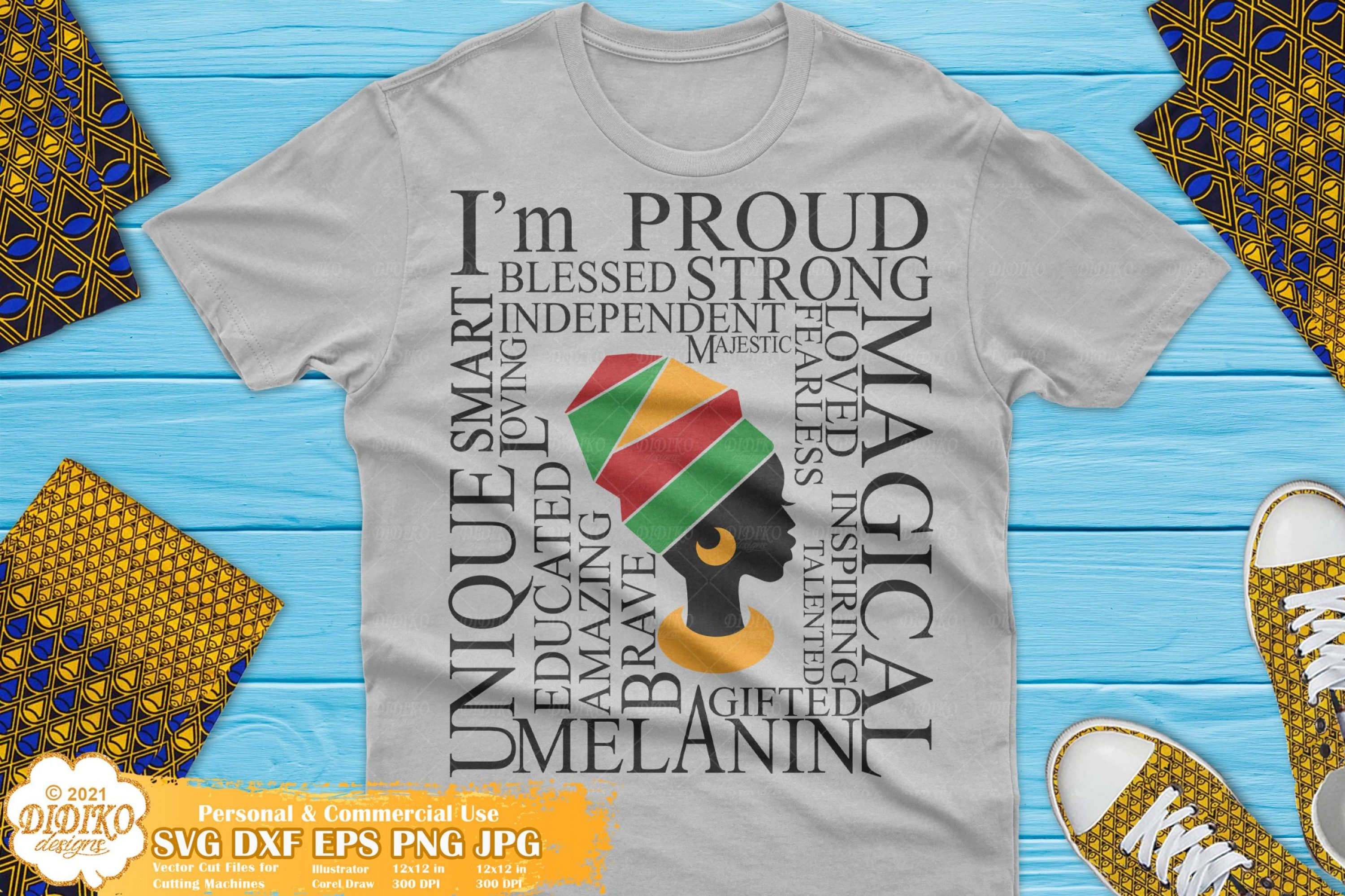 Afro Woman with Words SVG #2, Black Women, Melanin