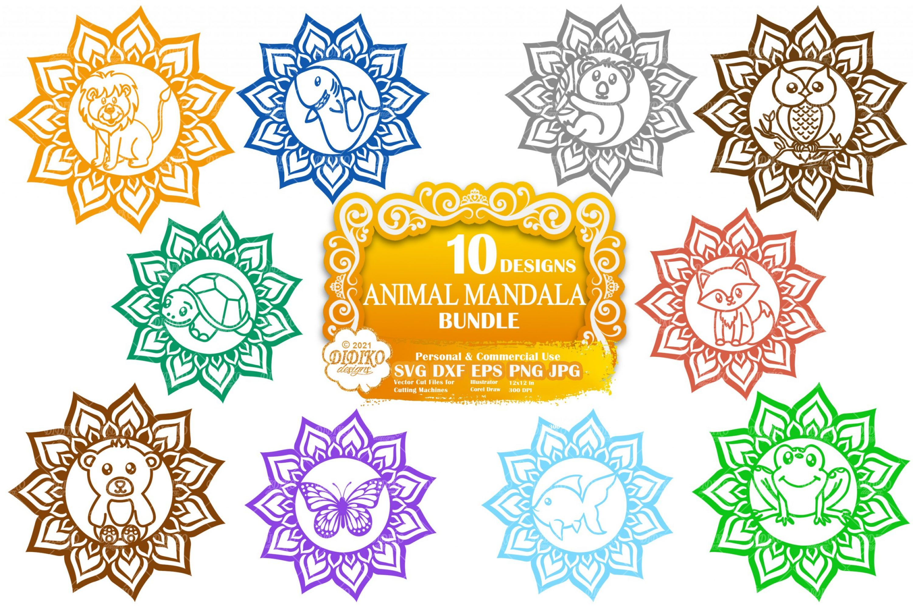 Animal Mandala SVG Bundle, Mandala Svg Bundle Files