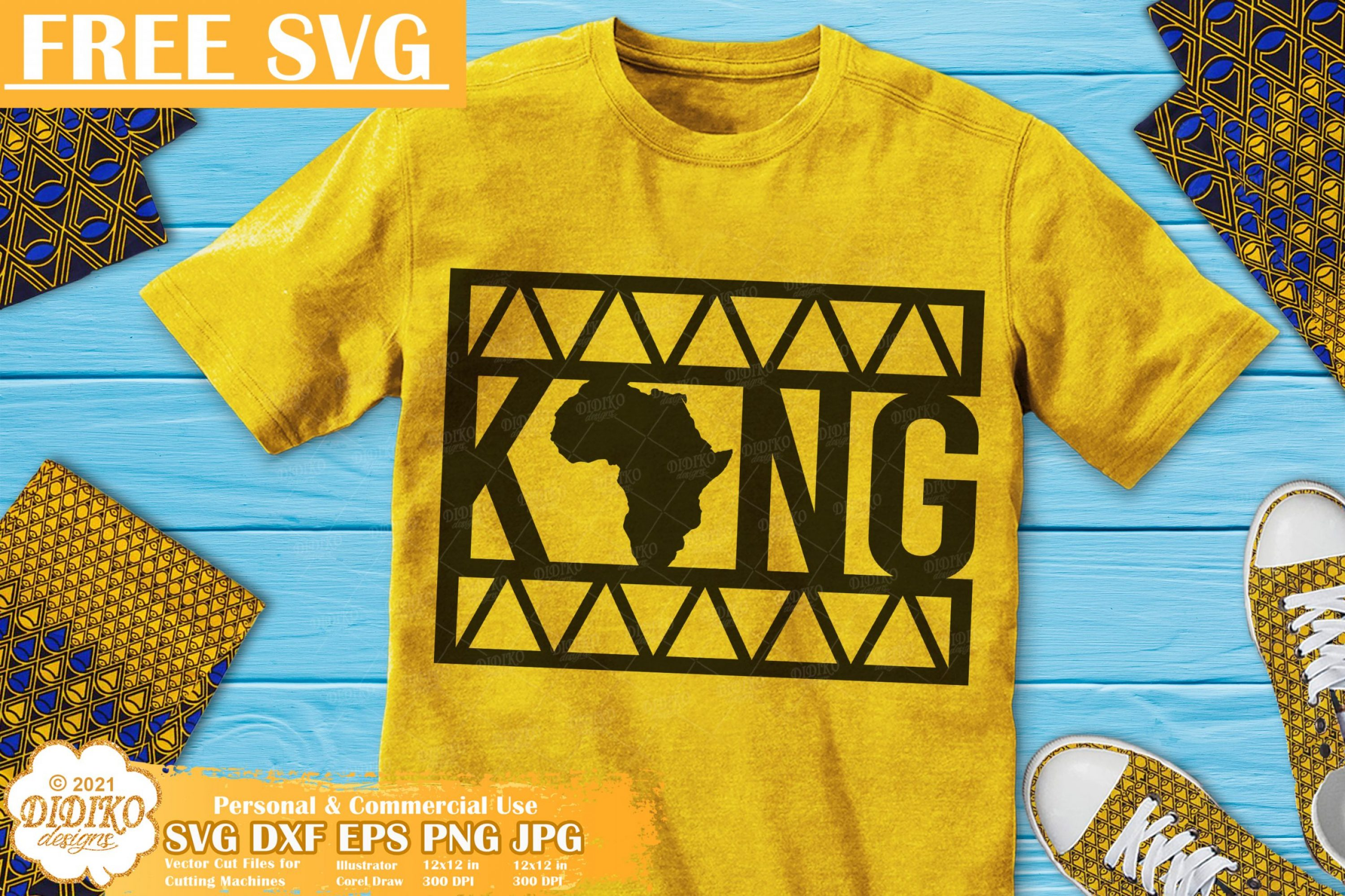 Black King Free SVG, Black Man Svg Files, Ankara Svg