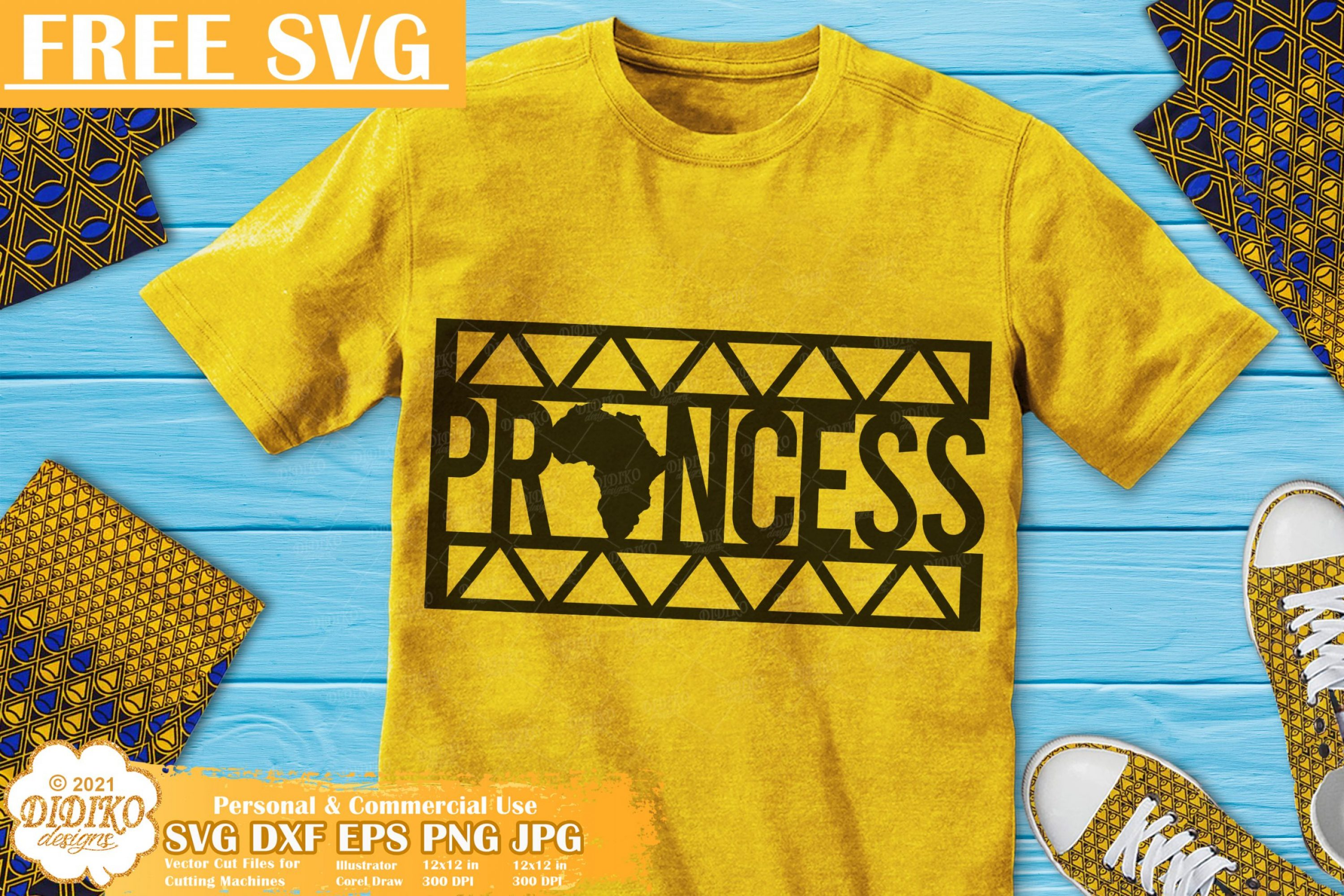Black Princess Free SVG, Black Girl Svg, Ankara Svg