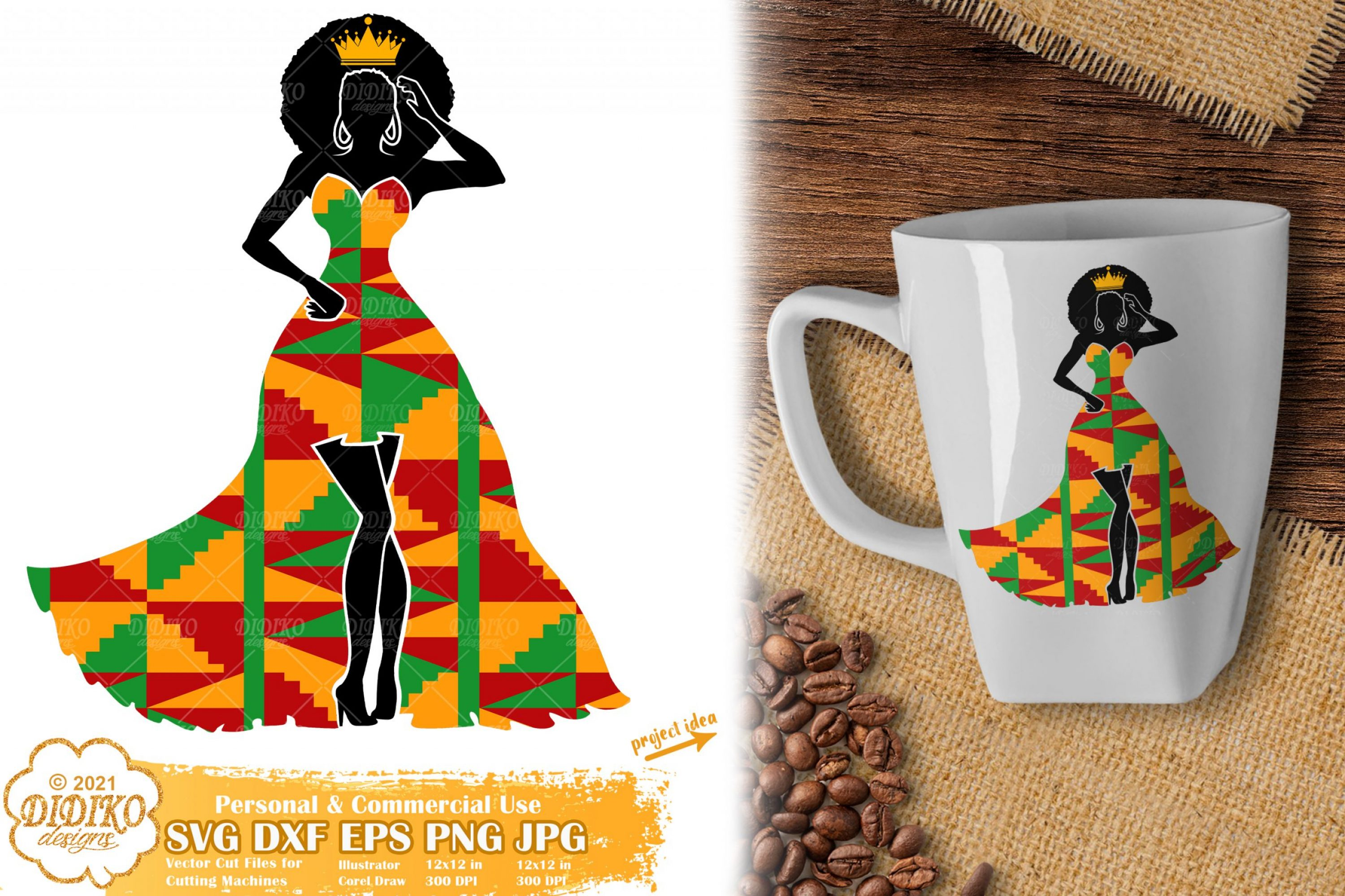 Black Woman Queen SVG, Afro Woman svg, Ankara Svg