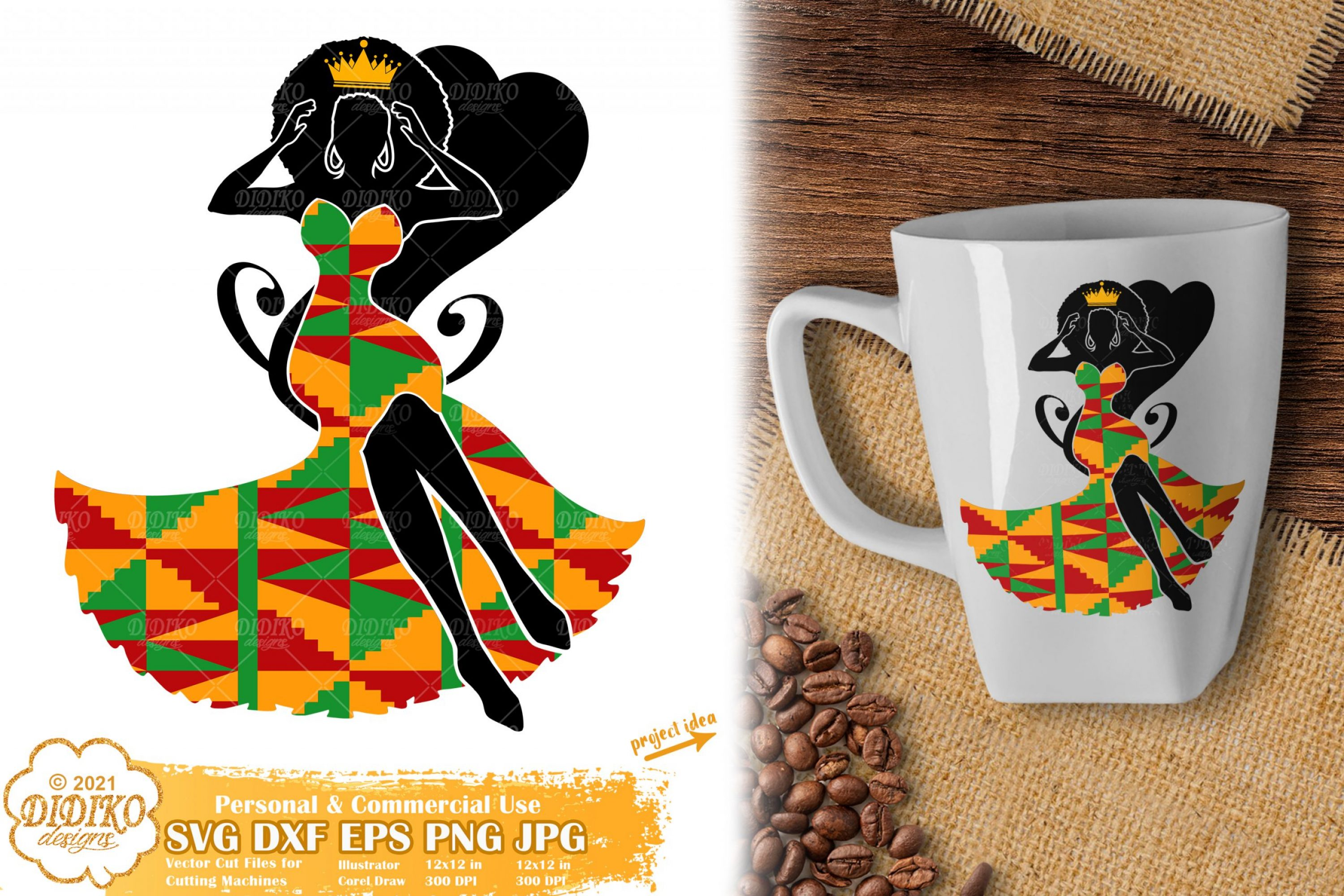 Black Woman Queen SVG #1, Afro Woman svg, Ankara