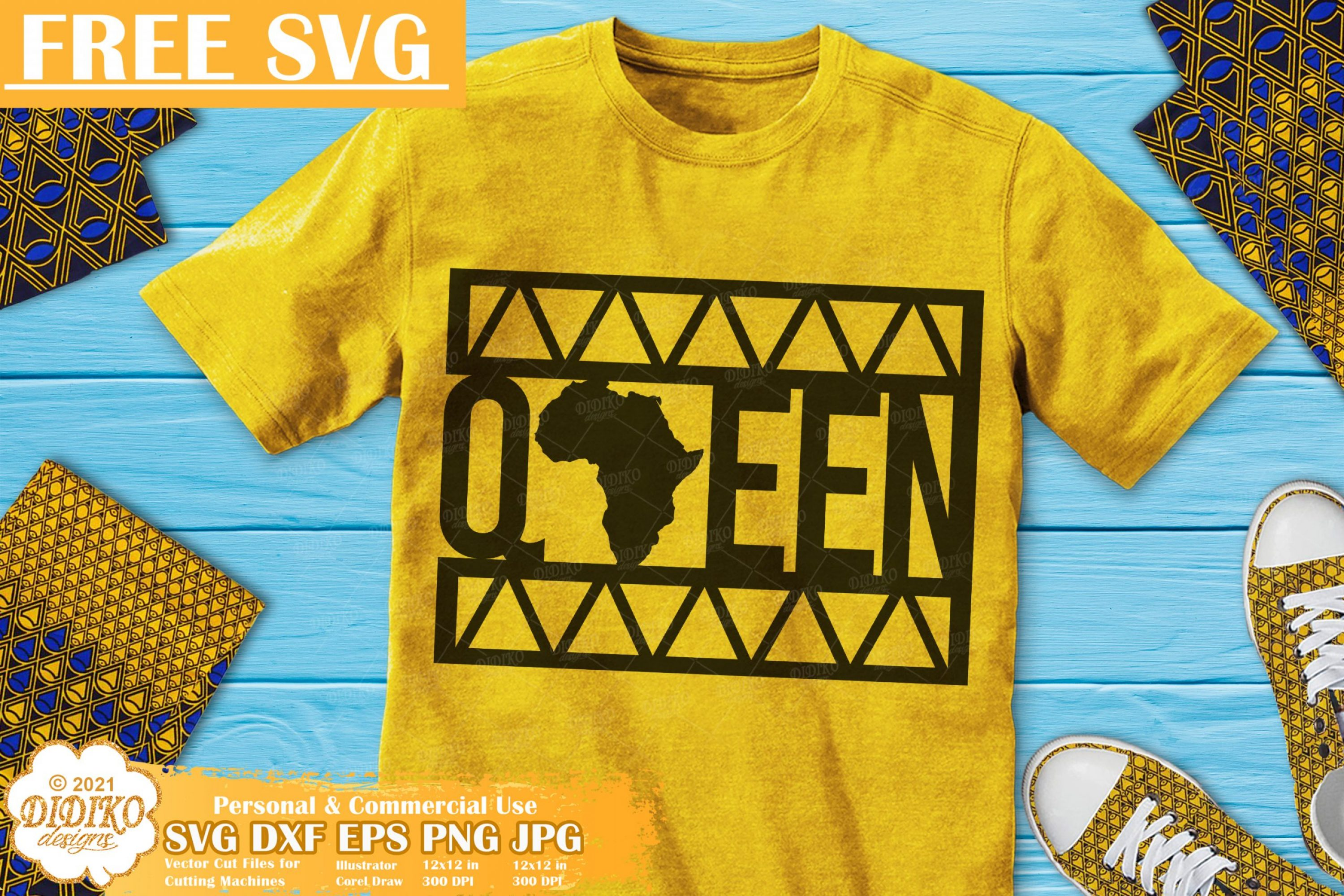 Black Queen Free SVG, Black Woman Svg, Ankara Svg