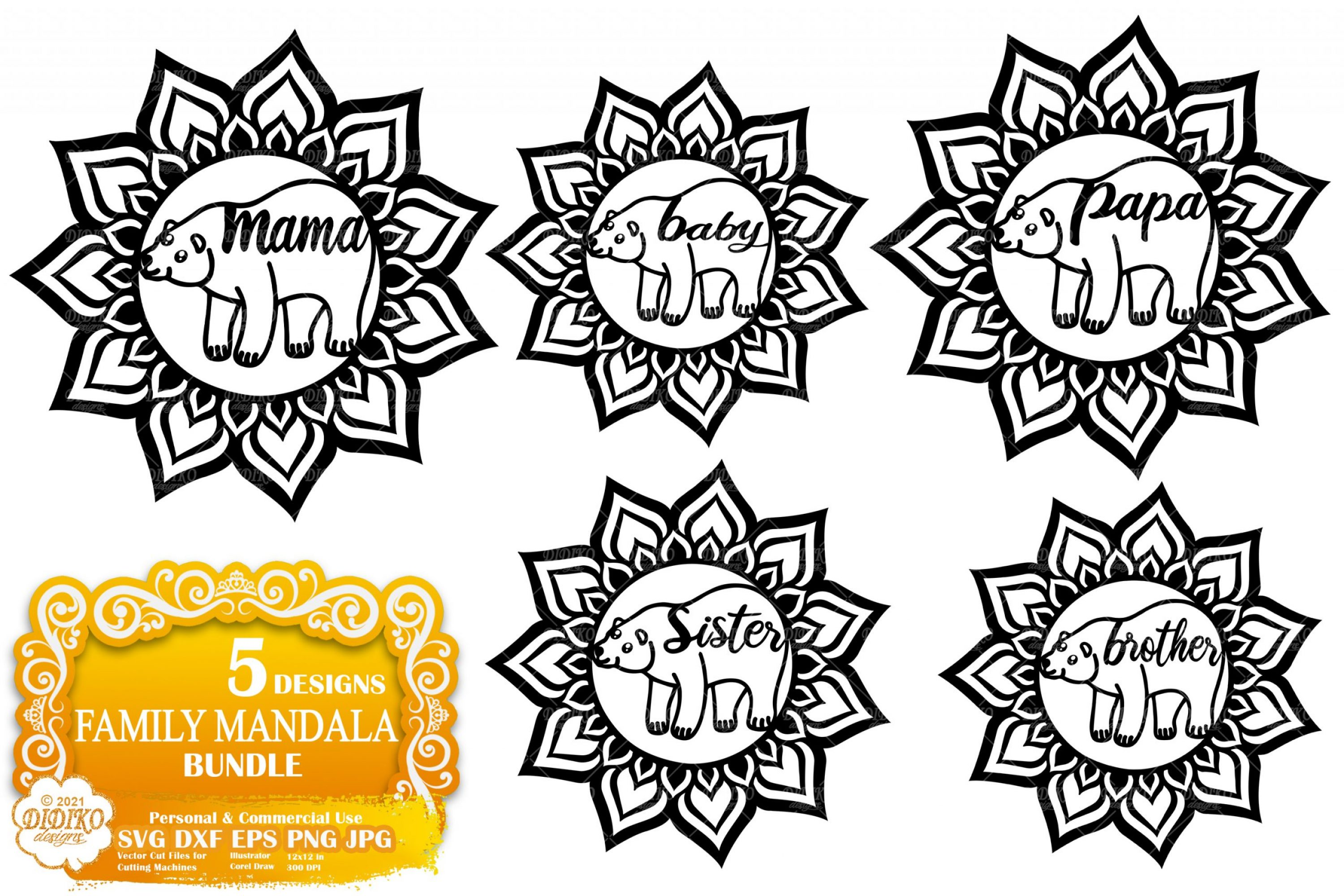 Mama Bear SVG Bundle, Animal Mandala SVG Bundle