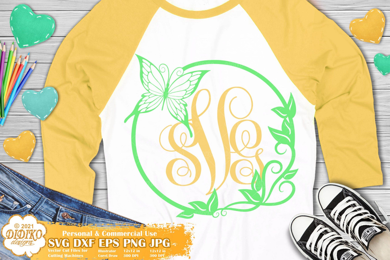 Butterfly Monogram SVG, Spring Monogram Svg Png