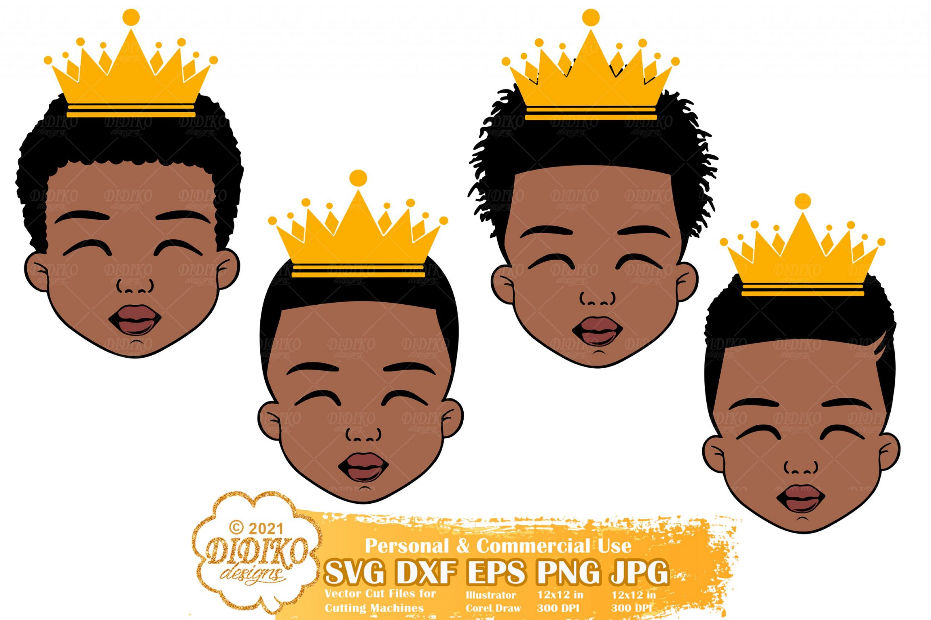 Black Boy SVG Bundle #2, Black Prince Svg, Afro Boy