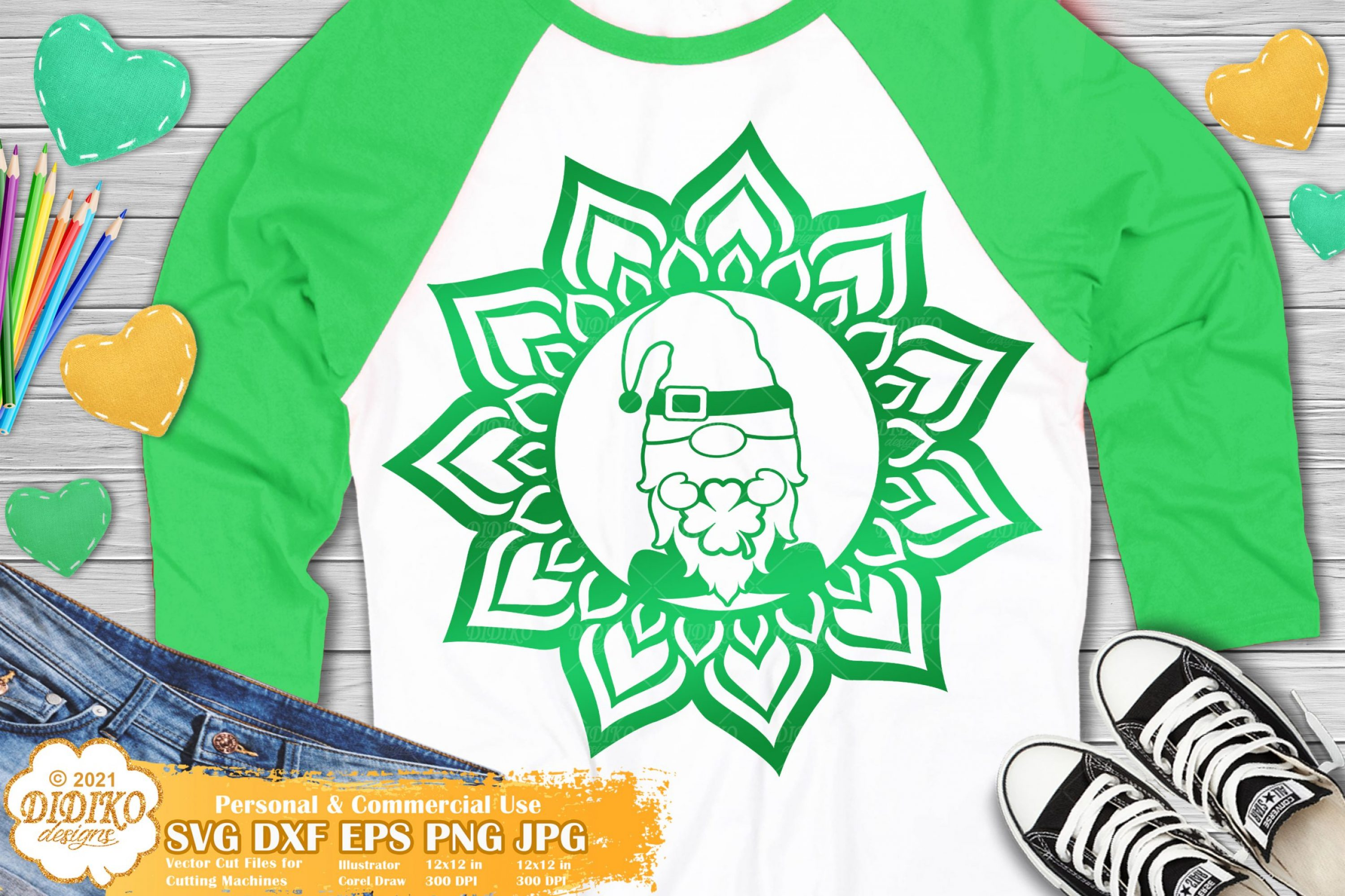 Gnome Mandala SVG, Patrick's Day Gnome Svg, Lucky
