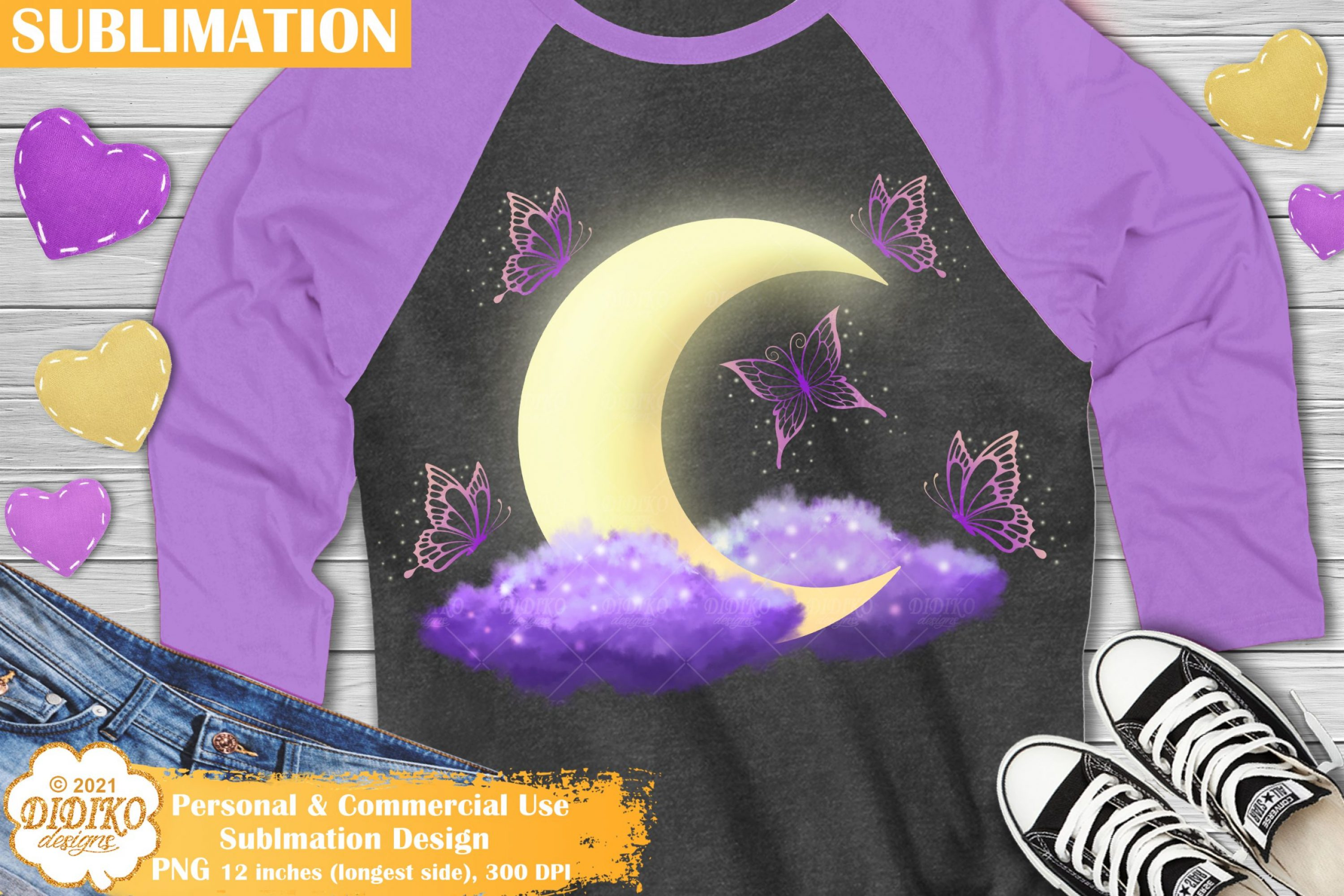 Moon Sublimation Design, Butterfly Sublimation PNG