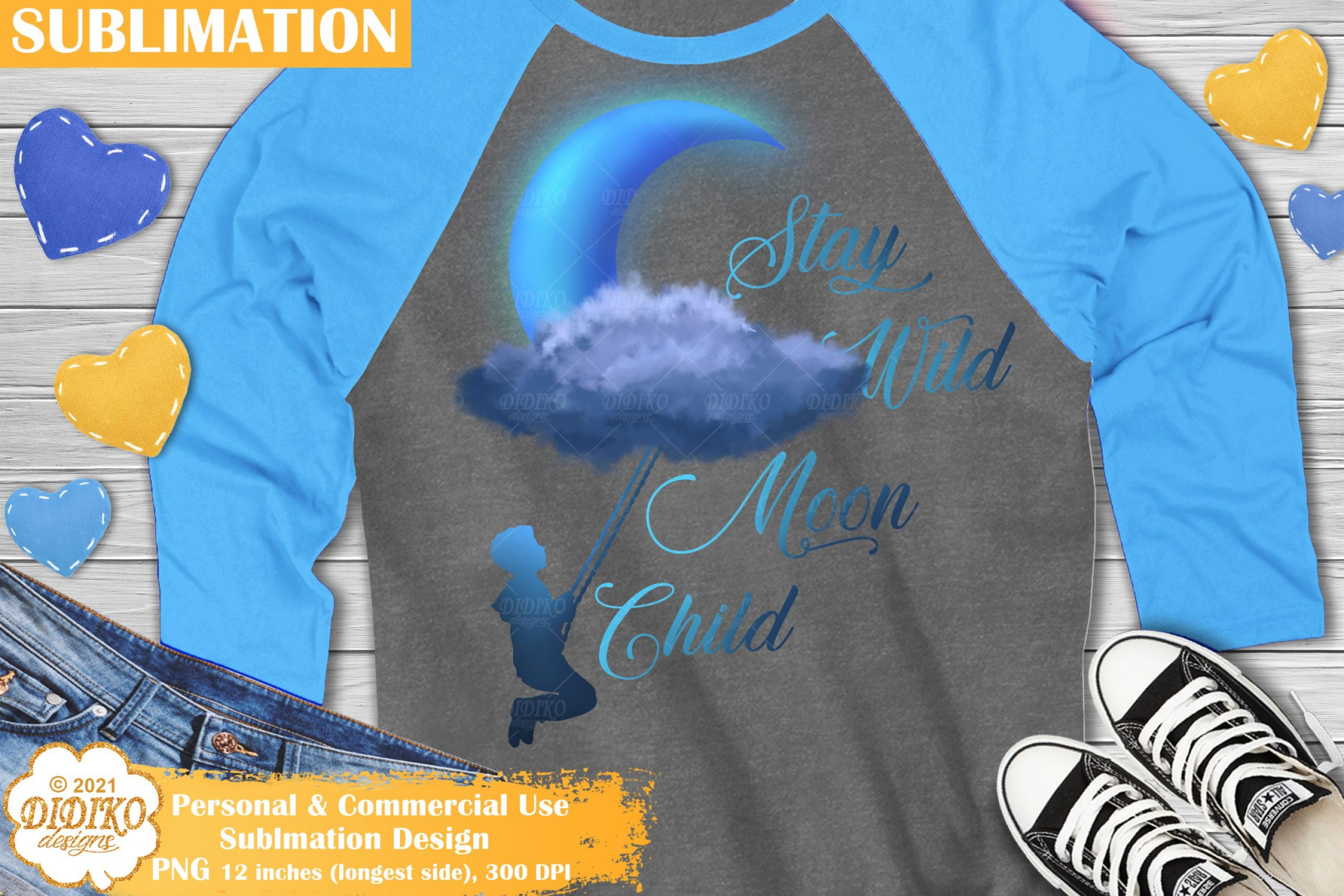 Moon Child Sublimation PNG, Boy Sublimation Design