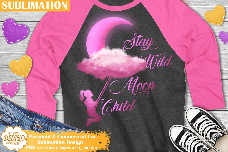 Moon Child Sublimation Design, Girl Sublimation PNG