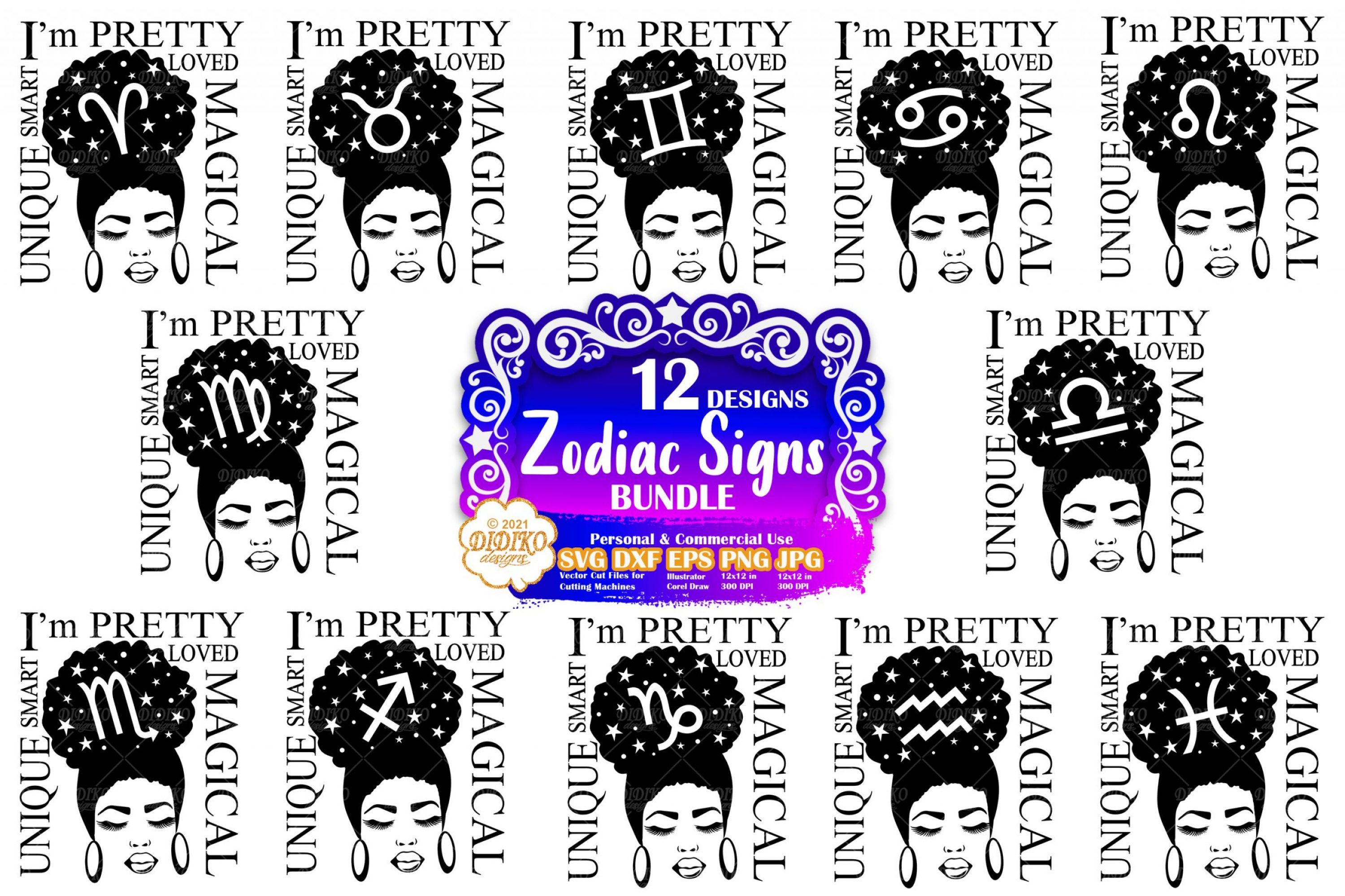 Black Woman Zodiac Signs SVG, Afro Women Bundle