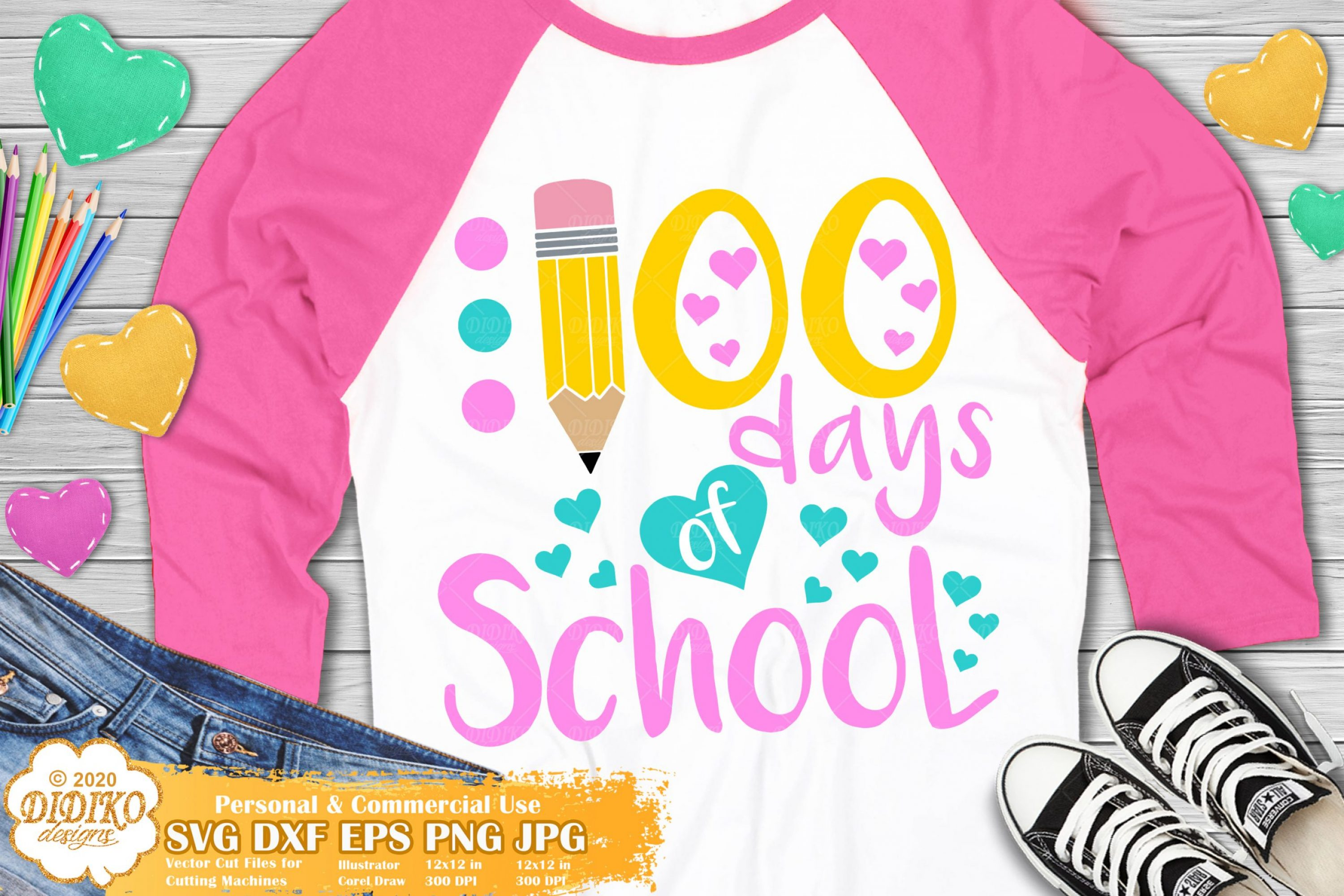 100 Days Of School SVG, Pencil SVG, Teacher svg
