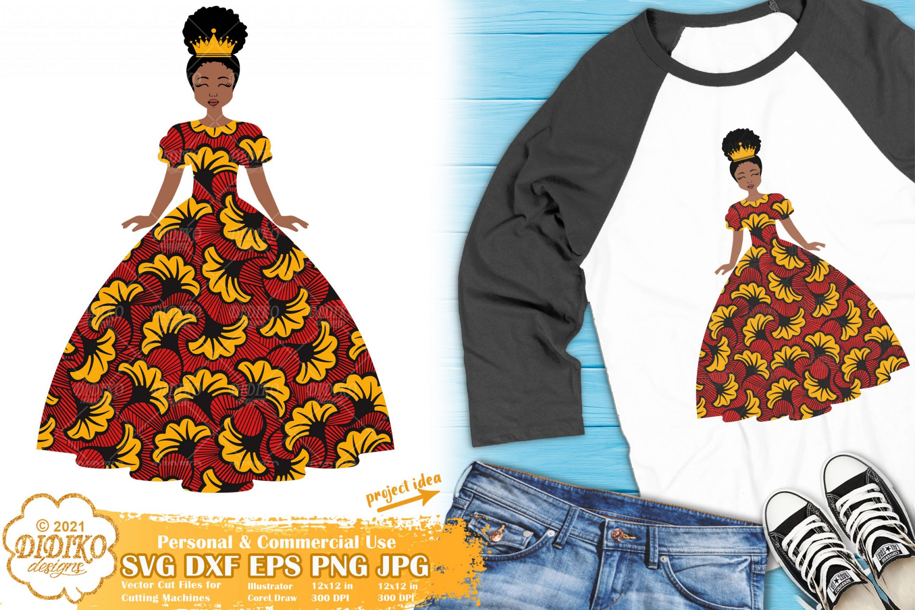 Black Girl Crown SVG, Little Afro Girl Svg, Ankara Clipart
