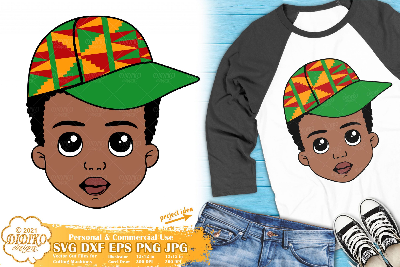 Black Boy with Hat SVG, Little Afro Boy Svg, Ankara Svg