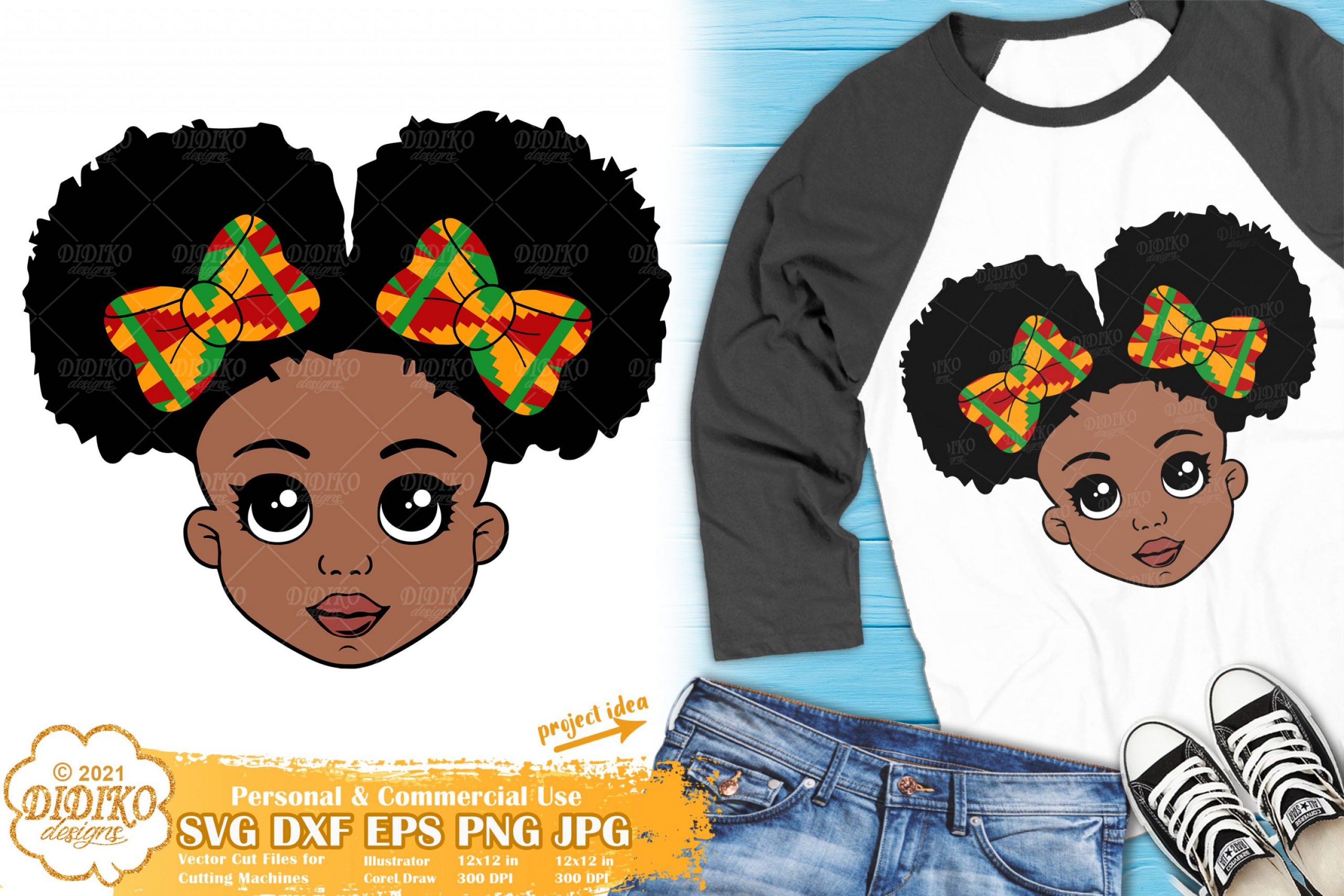 Black Girl with Bows SVG, Afro Puff Girl Svg, Ankara Svg