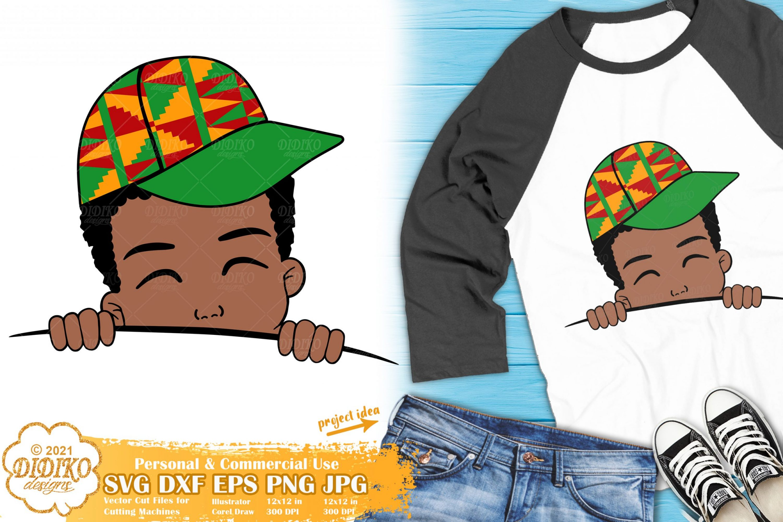 Black Boy Peek a Boo SVG, Afro Boy Hat Svg, Ankara