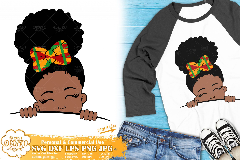 Black GIrl Peek a Boo SVG, Afro Puff Svg, Ankara clipart