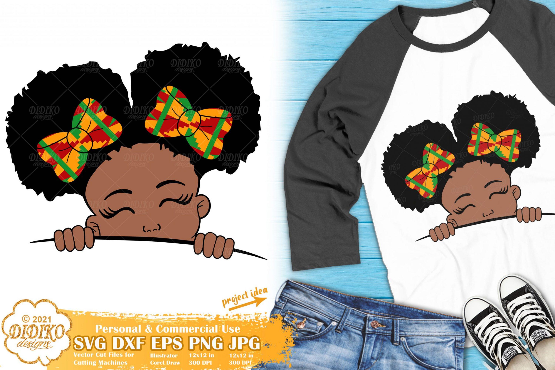 Black GIrl PeekaBoo SVG, Afro Puffs Svg, Ankara clipart