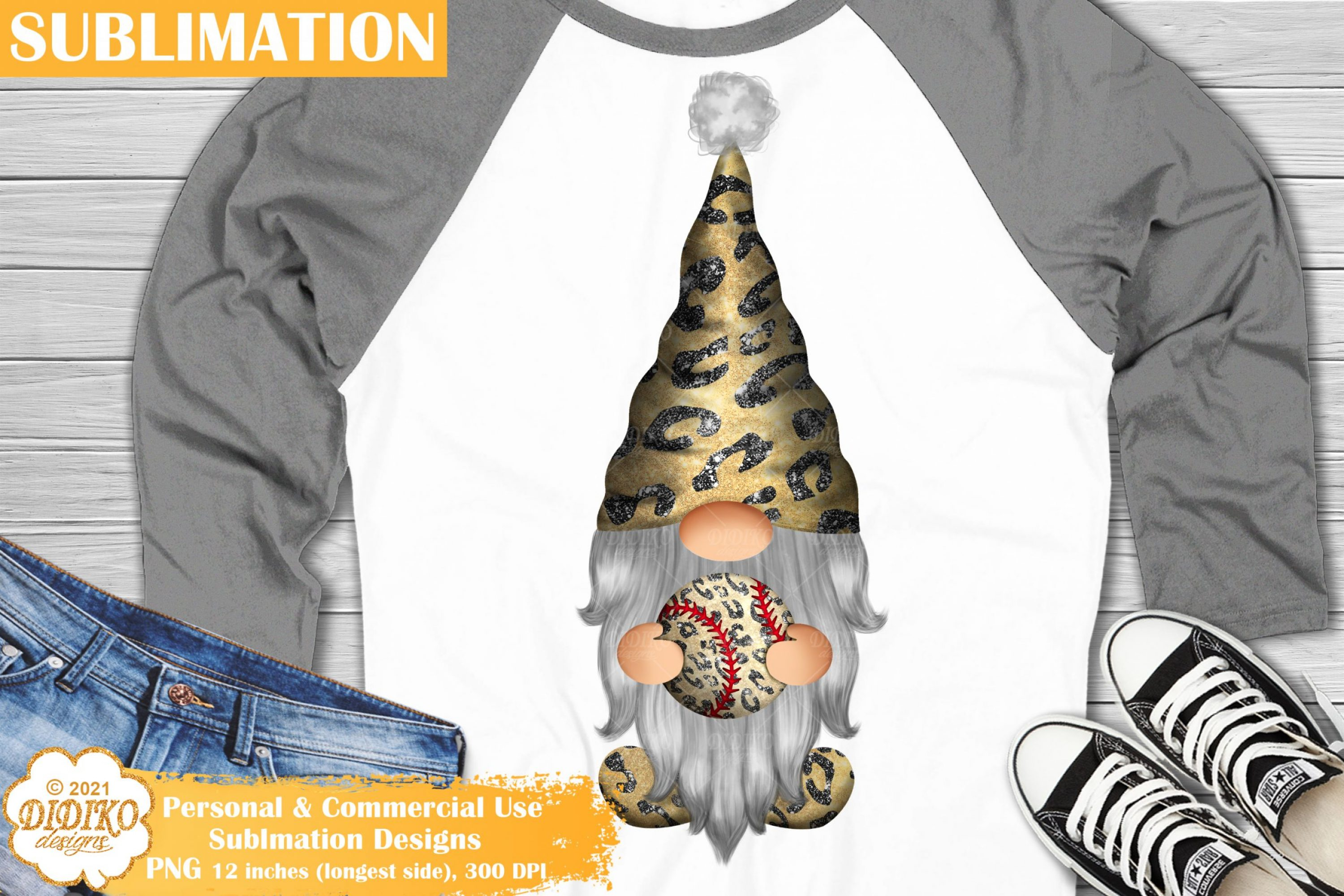 Baseball Gnome Sublimation, Leopard Gnomes PNG