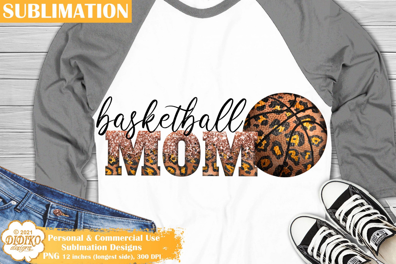 Basketball Mom Sublimation, Leopard Basketball PNG