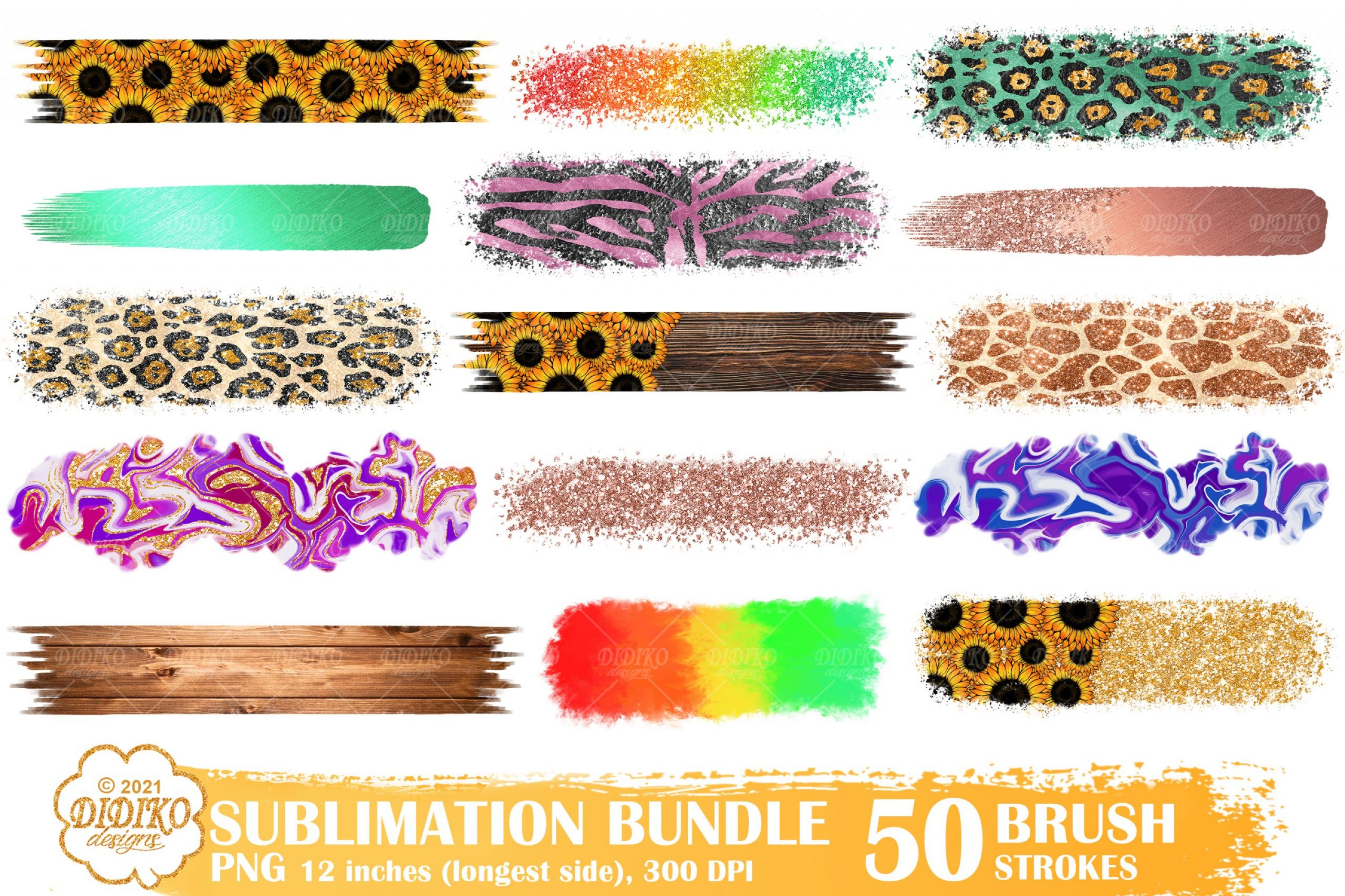 Brush Strokes PNG Bundle, Glitter, Animal Print, Wood