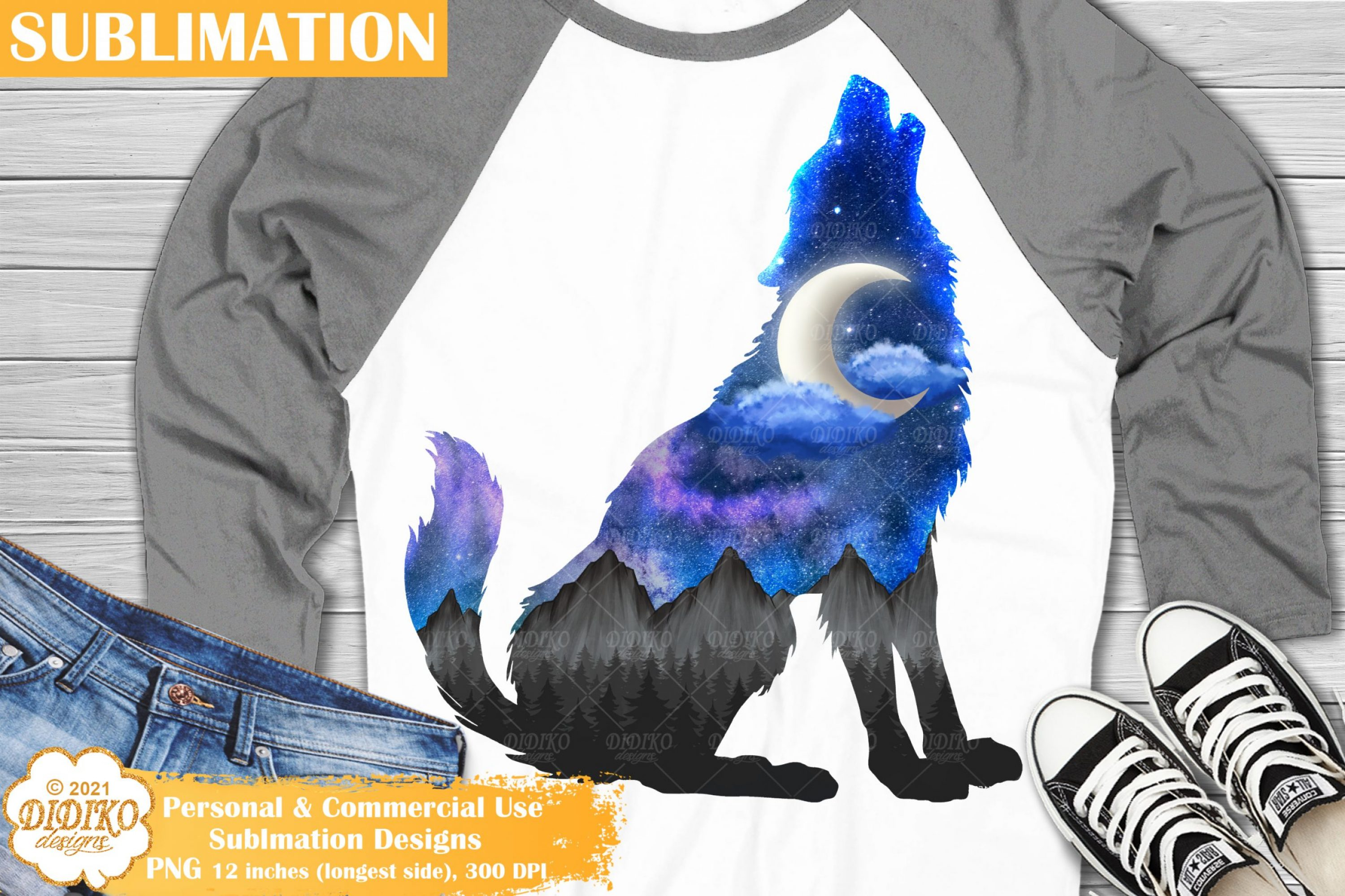 Wolf Sublimation Design, Galaxy Sublimation, Wolf PNG