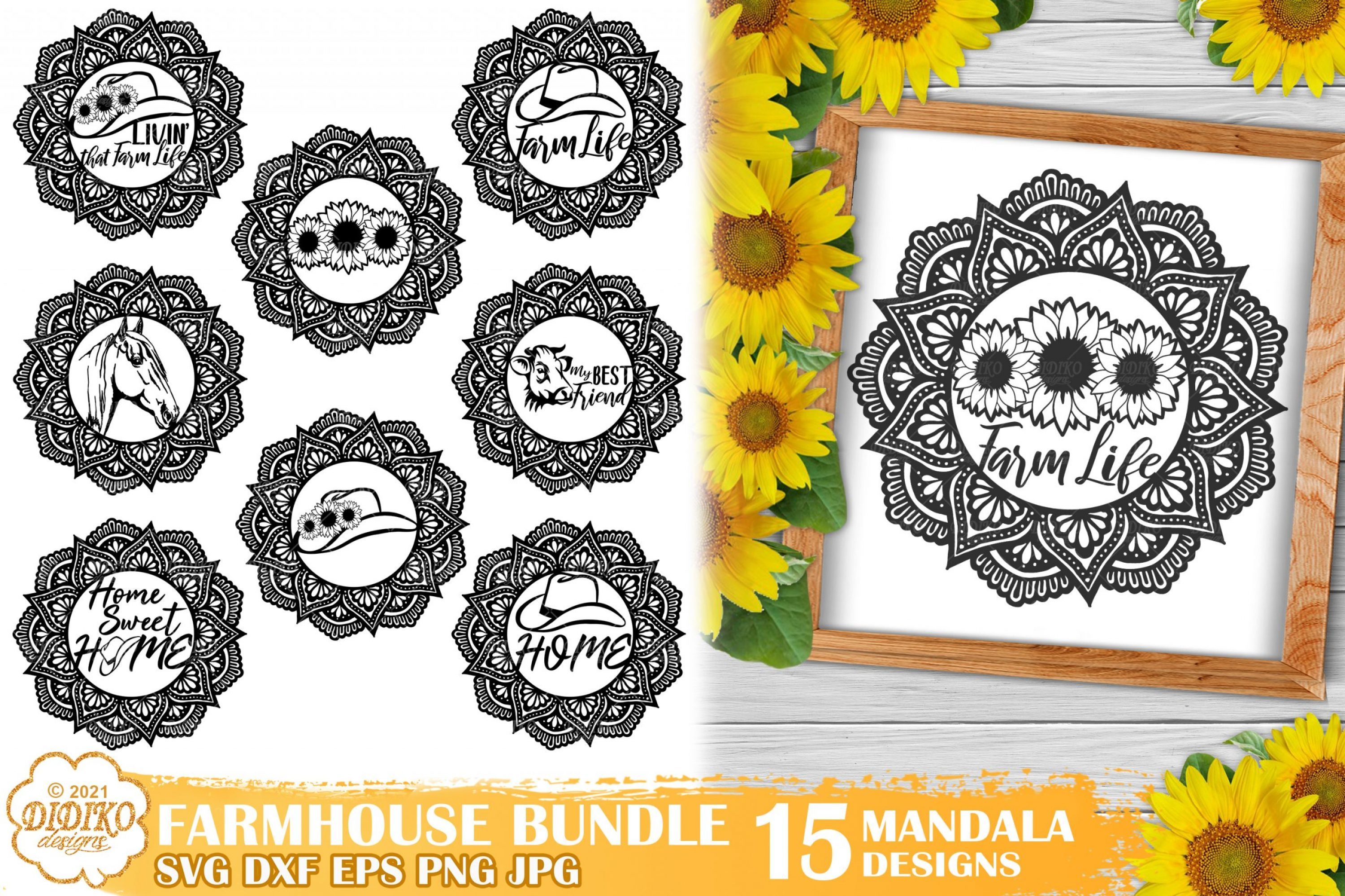 Farmhouse Mandala SVG Bundle, Farmhouse Signs Svg