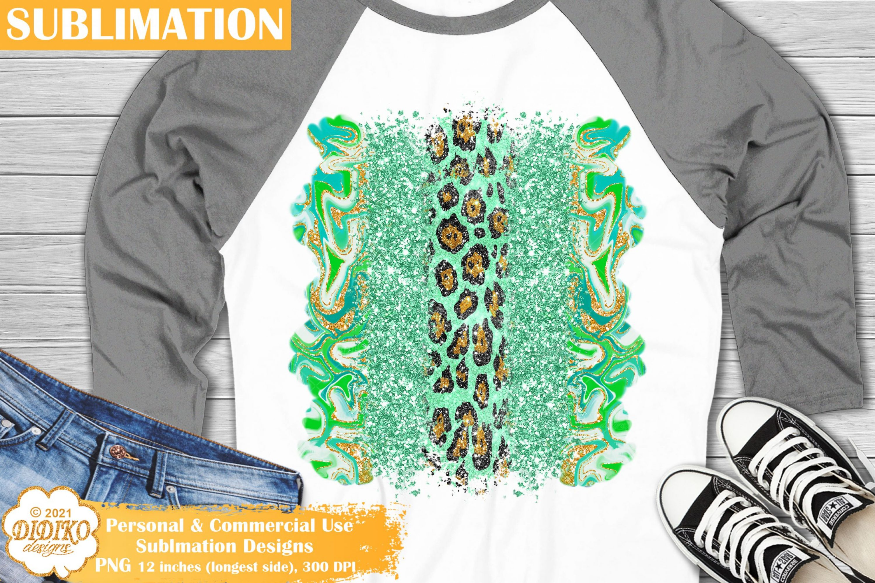 Glitter Brush Strokes PNG, Leopard Sublimation Print