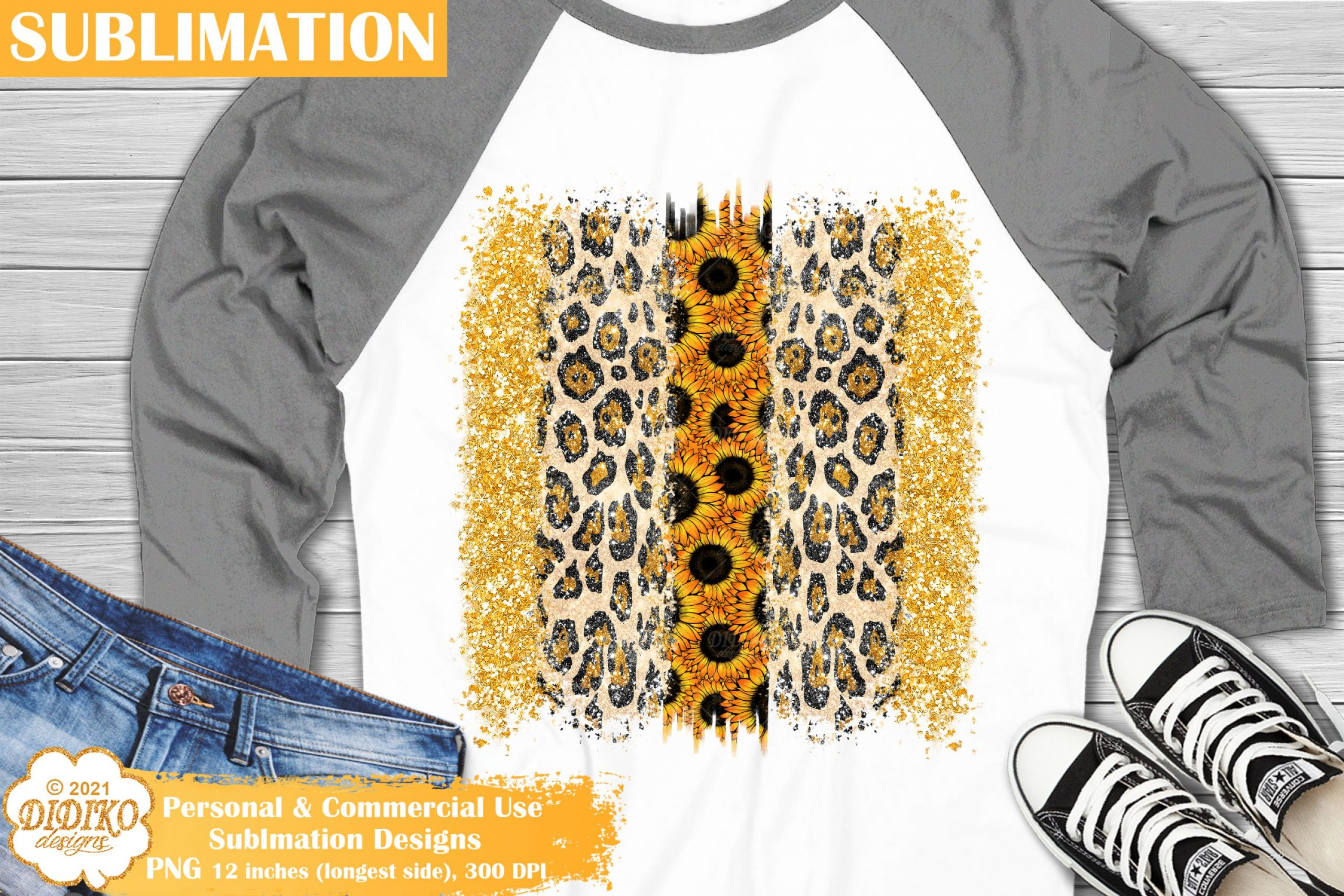 Brush Strokes PNG, Sunflower sublimation, Leopard png