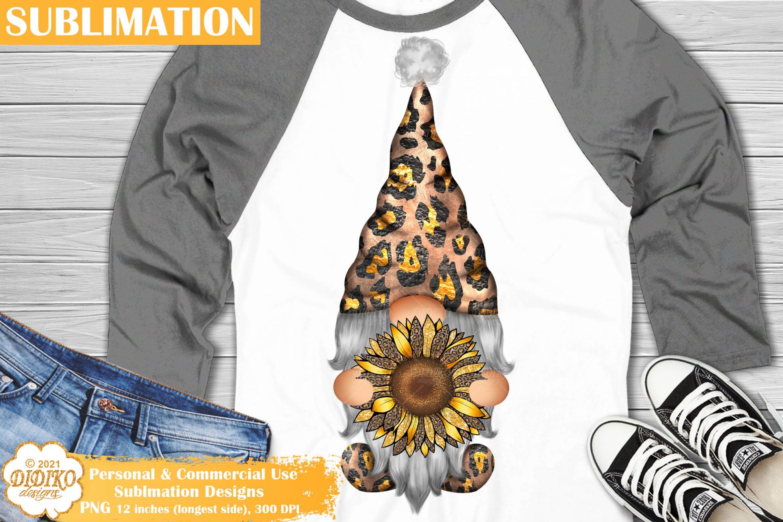 Sunflower Gnome Sublimation, Leopard Gnome PNG