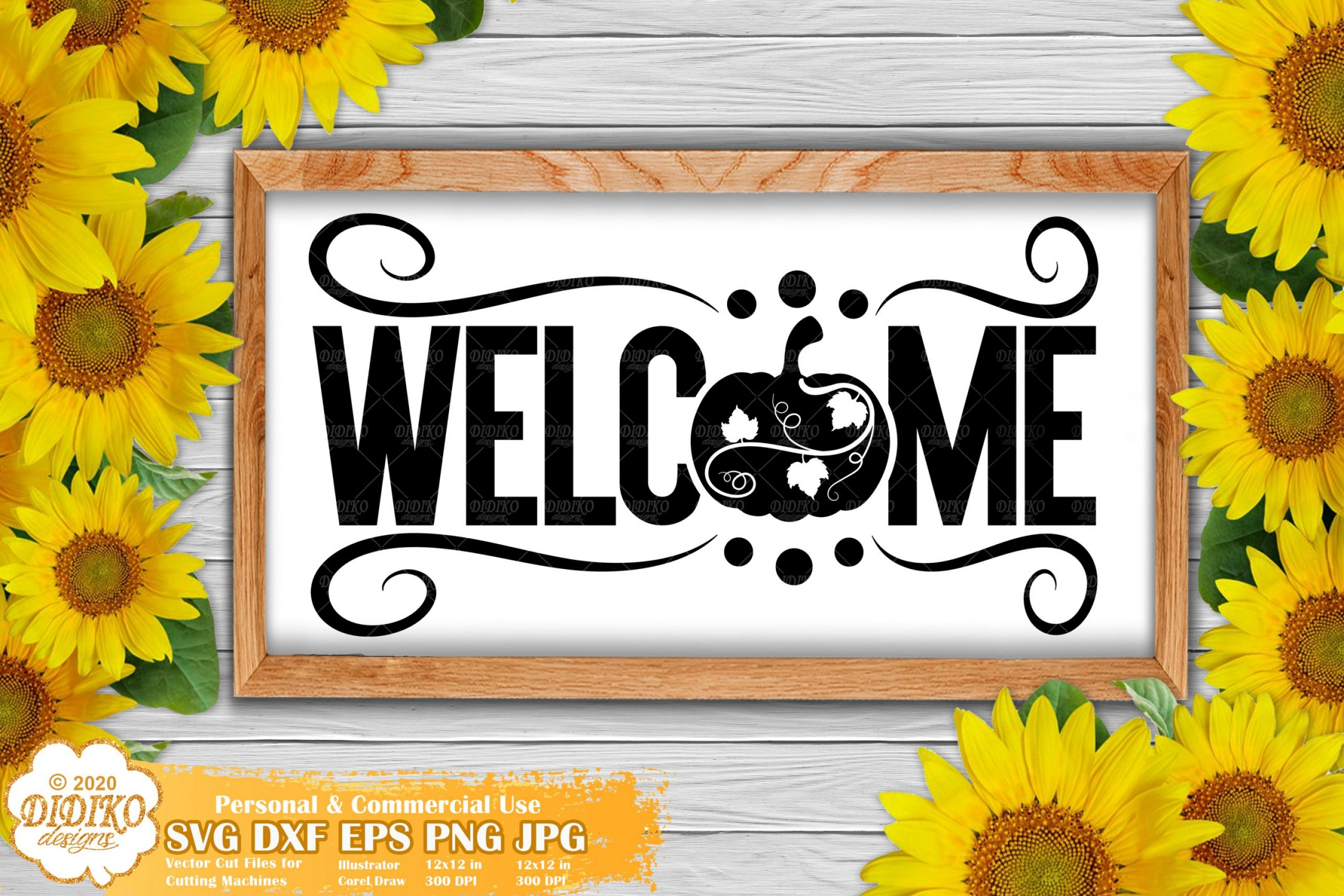 Welcome Pumpkin Sign SVG, Fall Signs, Thanksgiving