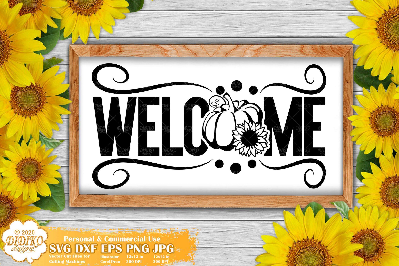 Welcome Pumpkin Sunflower SVG, Fall Signs Svg Cricut