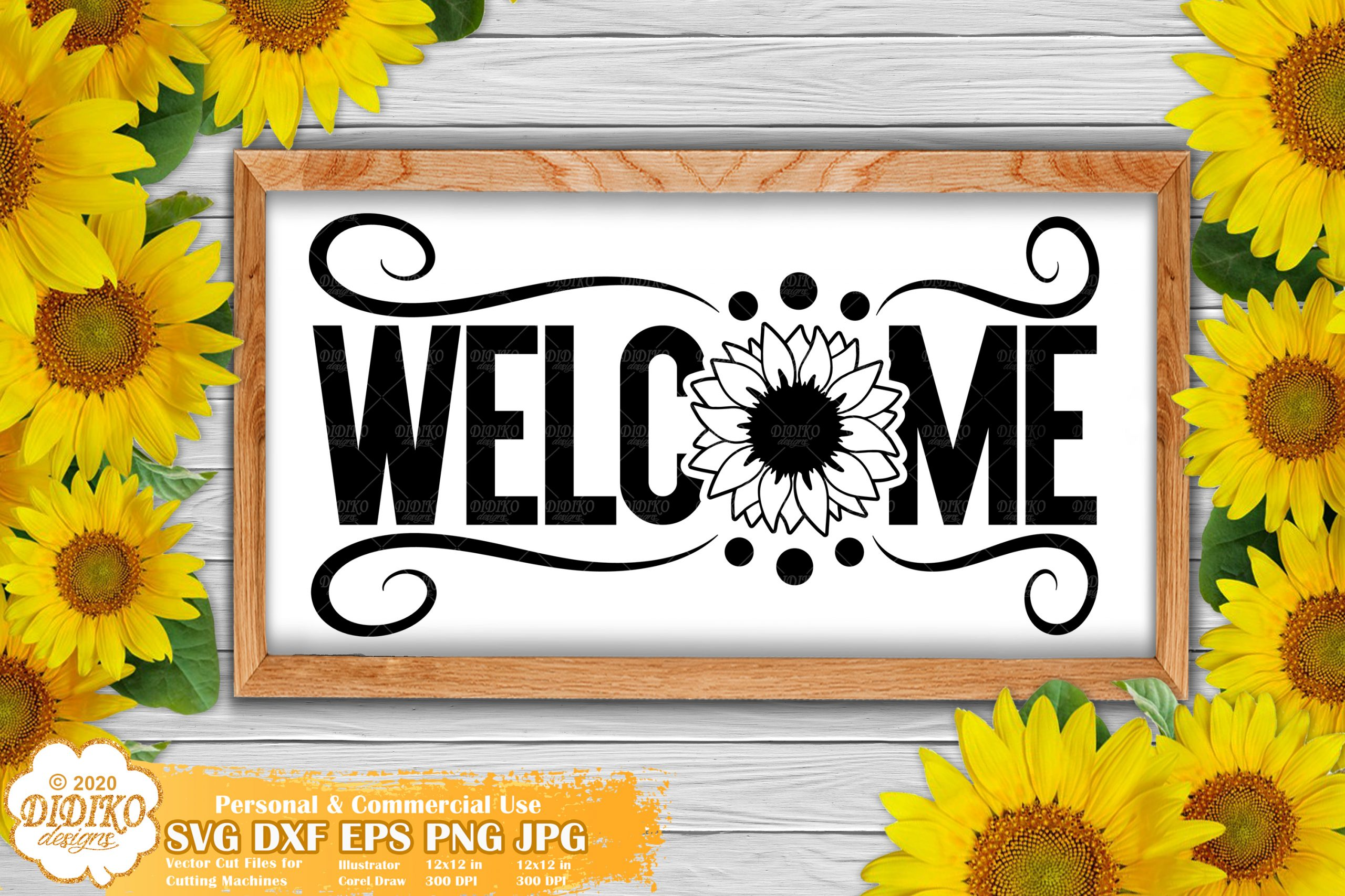 Sunflower Welcome Sign SVG