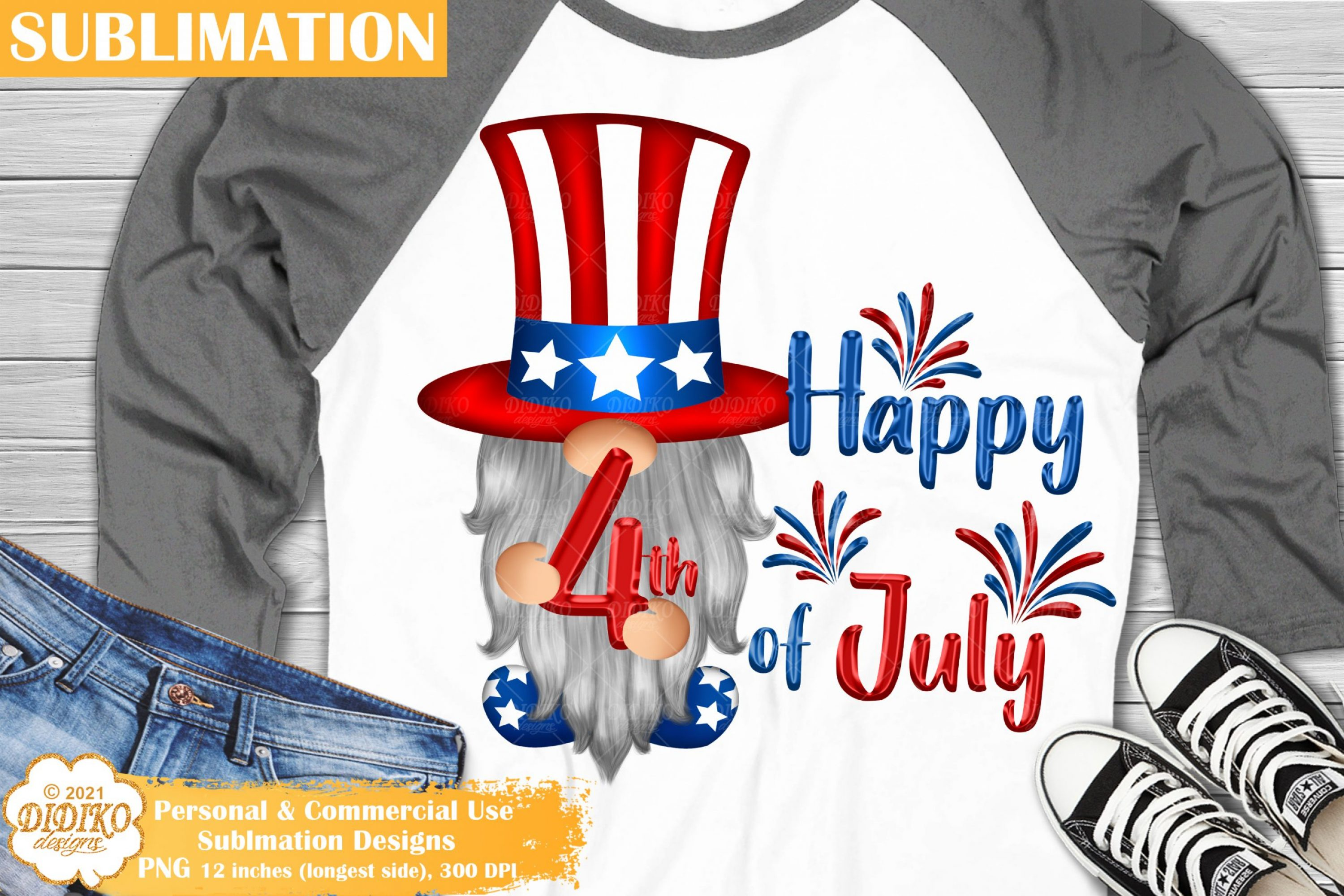 4th of July Gnome Sublimation, USA Gnome Png Clipart