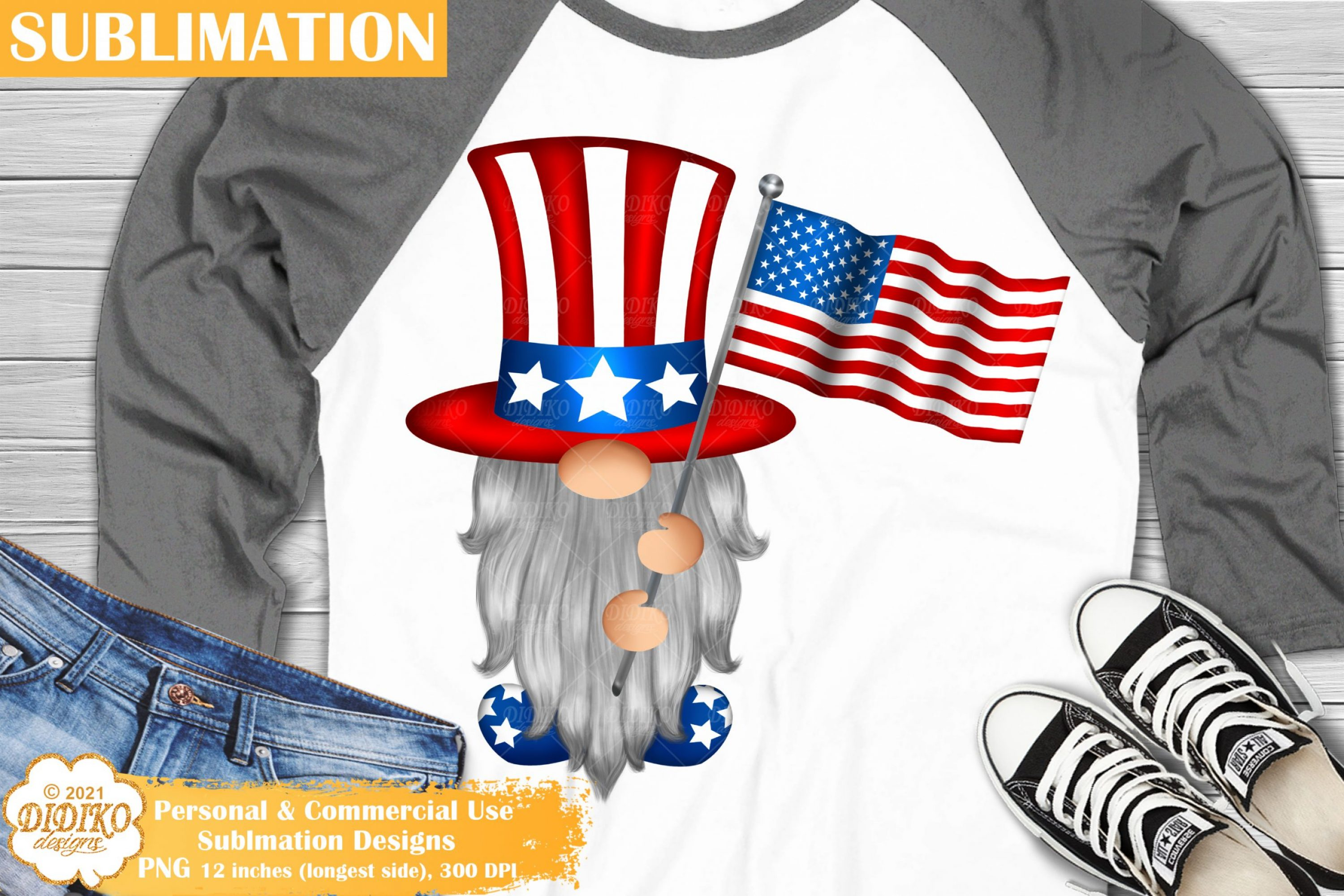 American Flag Gnome Sublimation, 4th of July Png File