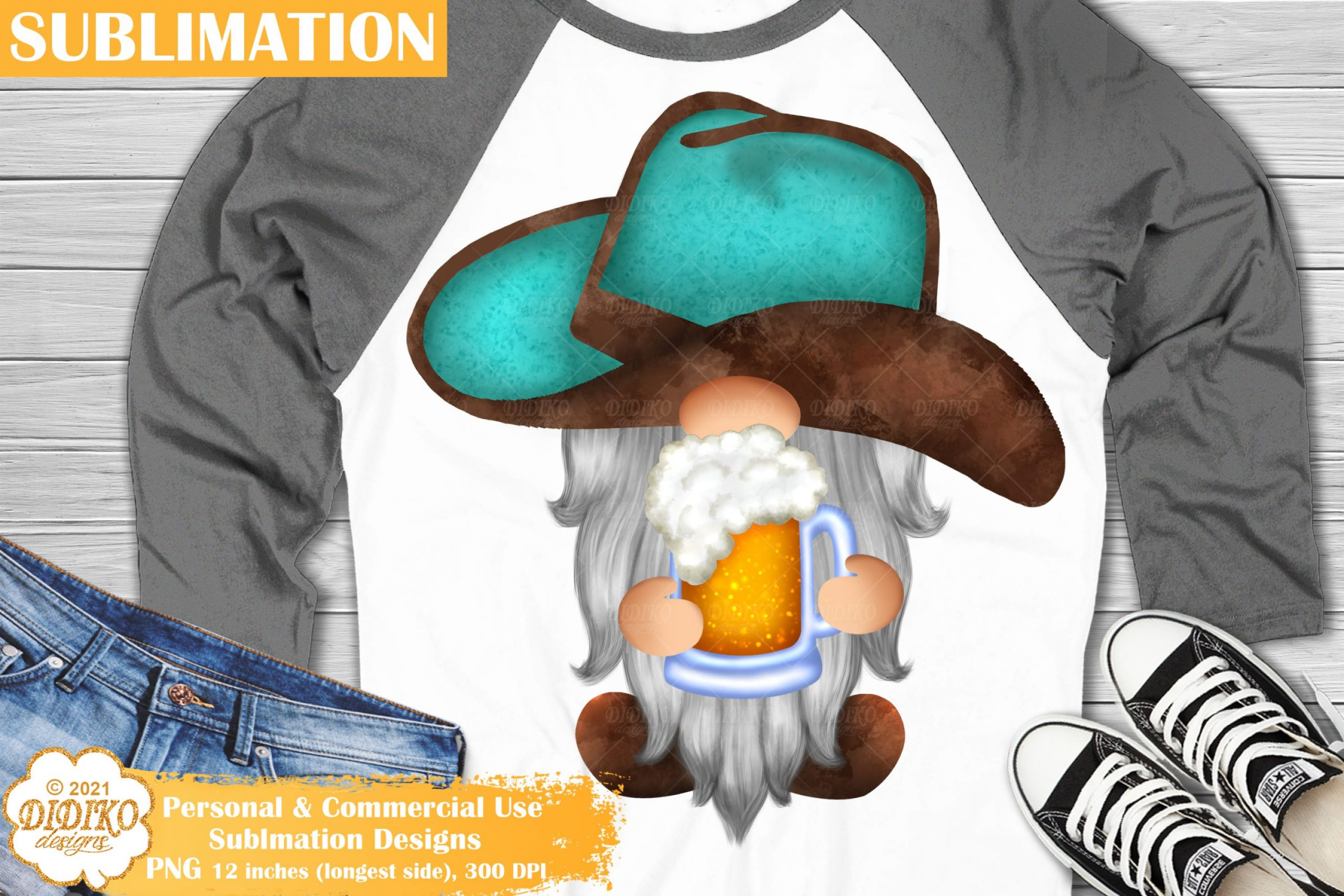 Cowboy Gnome Sublimation, Western Png, Gnome Beer