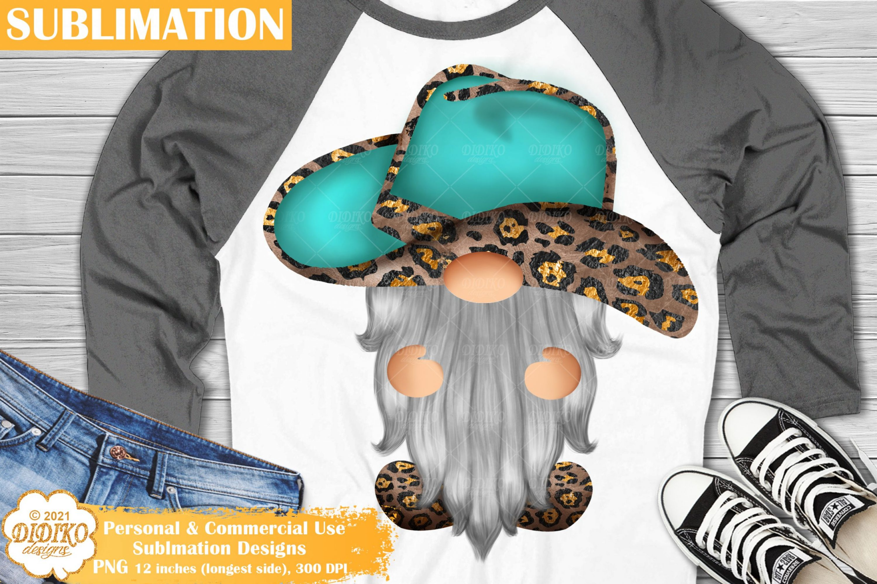 Western Gnome Sublimation, Leopard Print, Turquoise