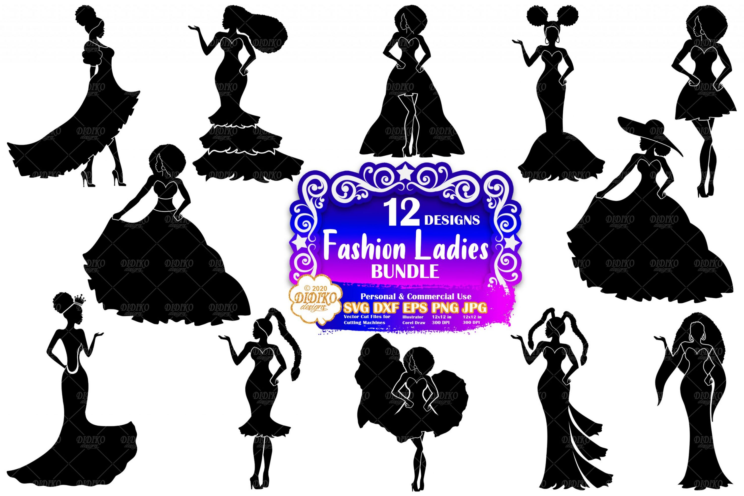 Fashion Woman SVG Bundle, Prom Svg, Fashion Clipart