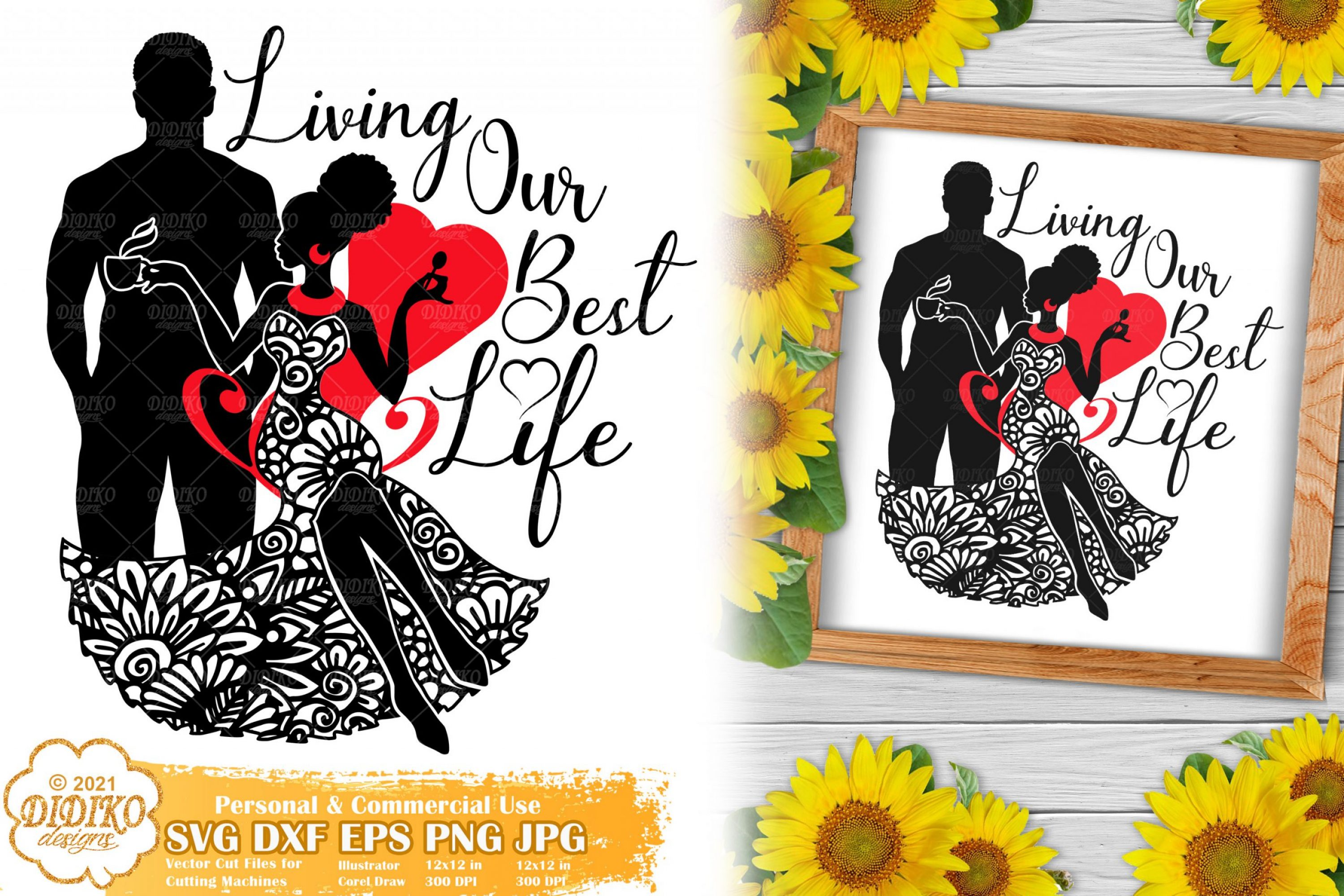 Couple SVG, Black Love Quotes Svg, Zentangle Svg file