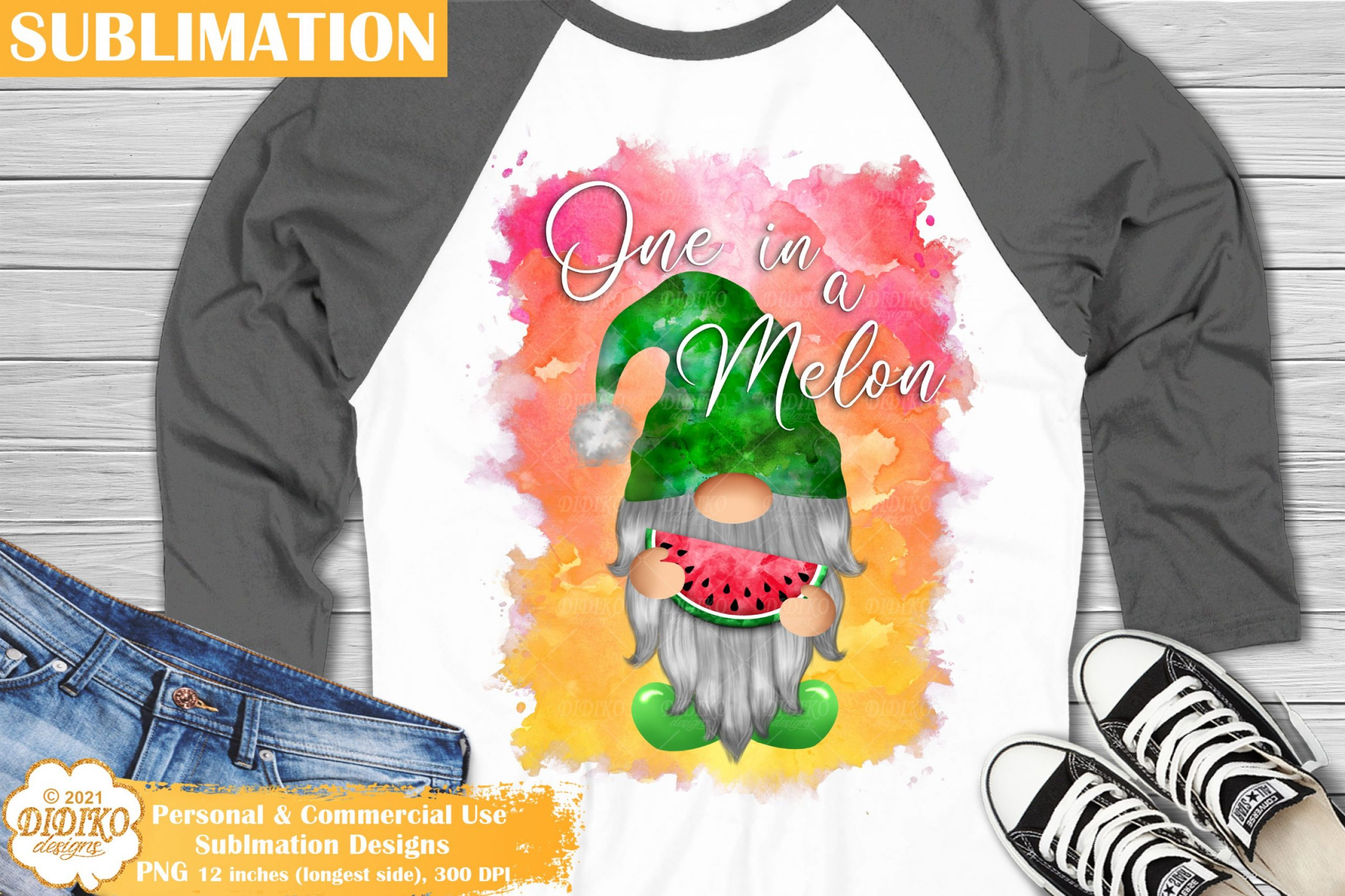 Watermelon Gnome Sublimation, Summer Gnome Png