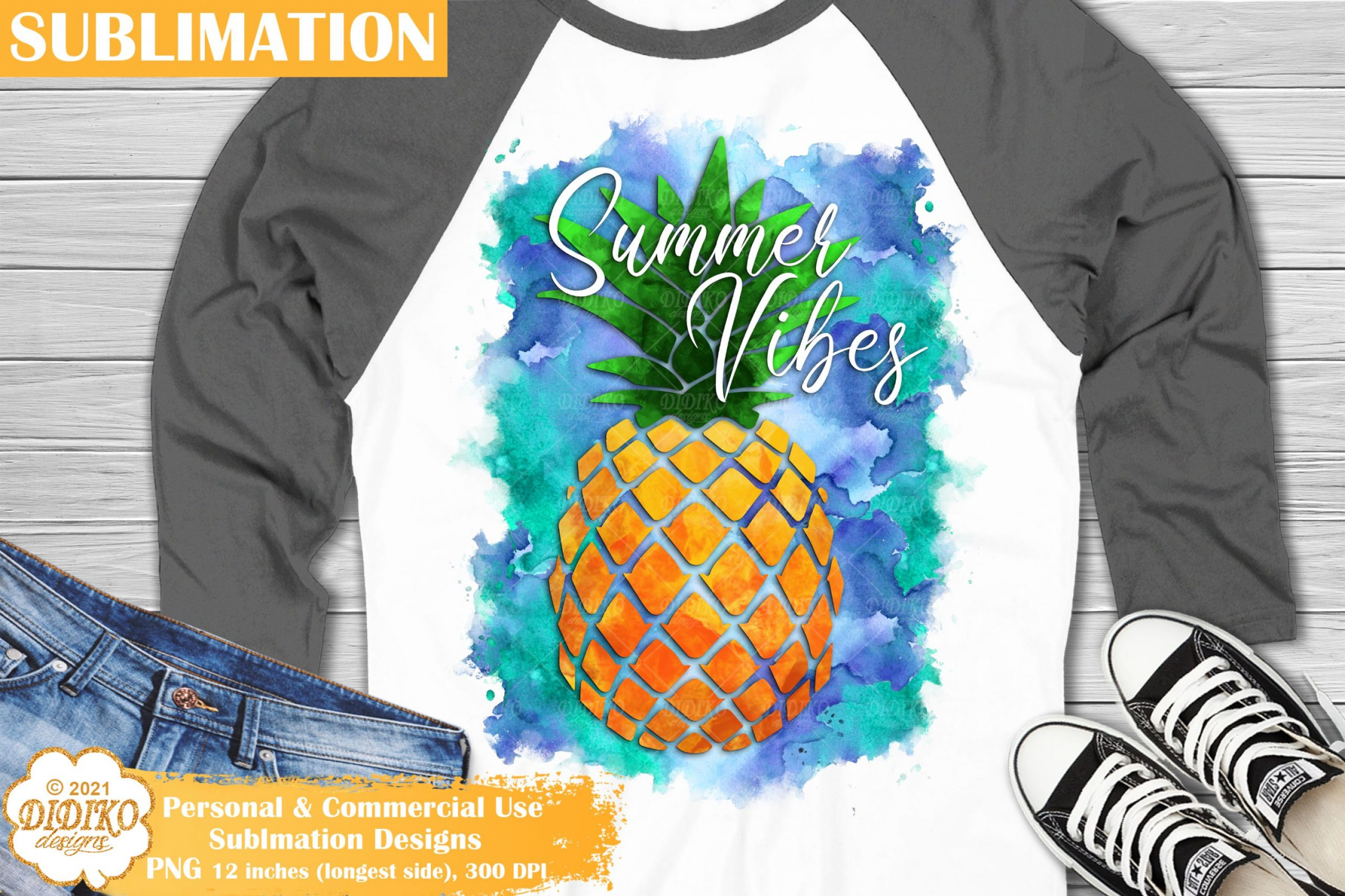 Pineapple Sublimation, Summer Vibes sublimation png