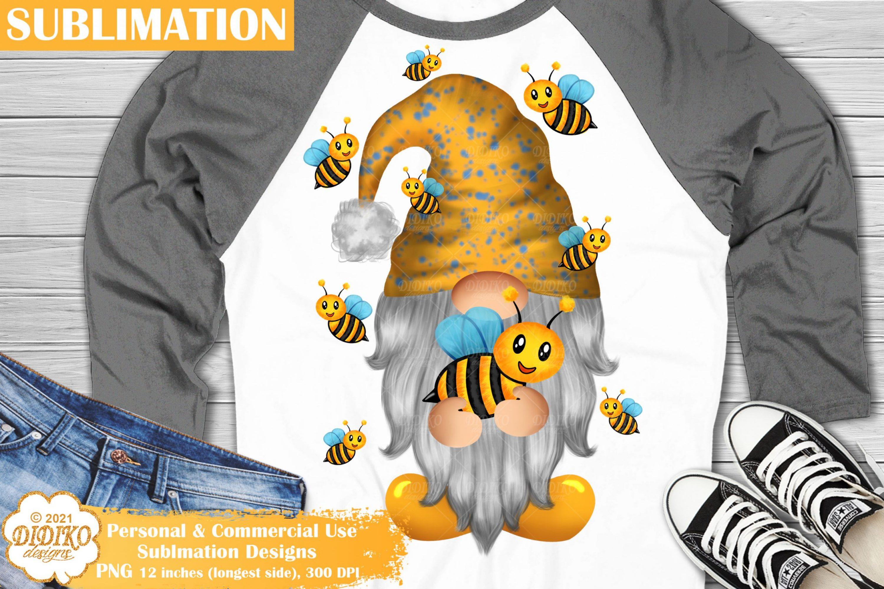 Bee Gnome Sublimation, Garden Gnome Png, Bee Png