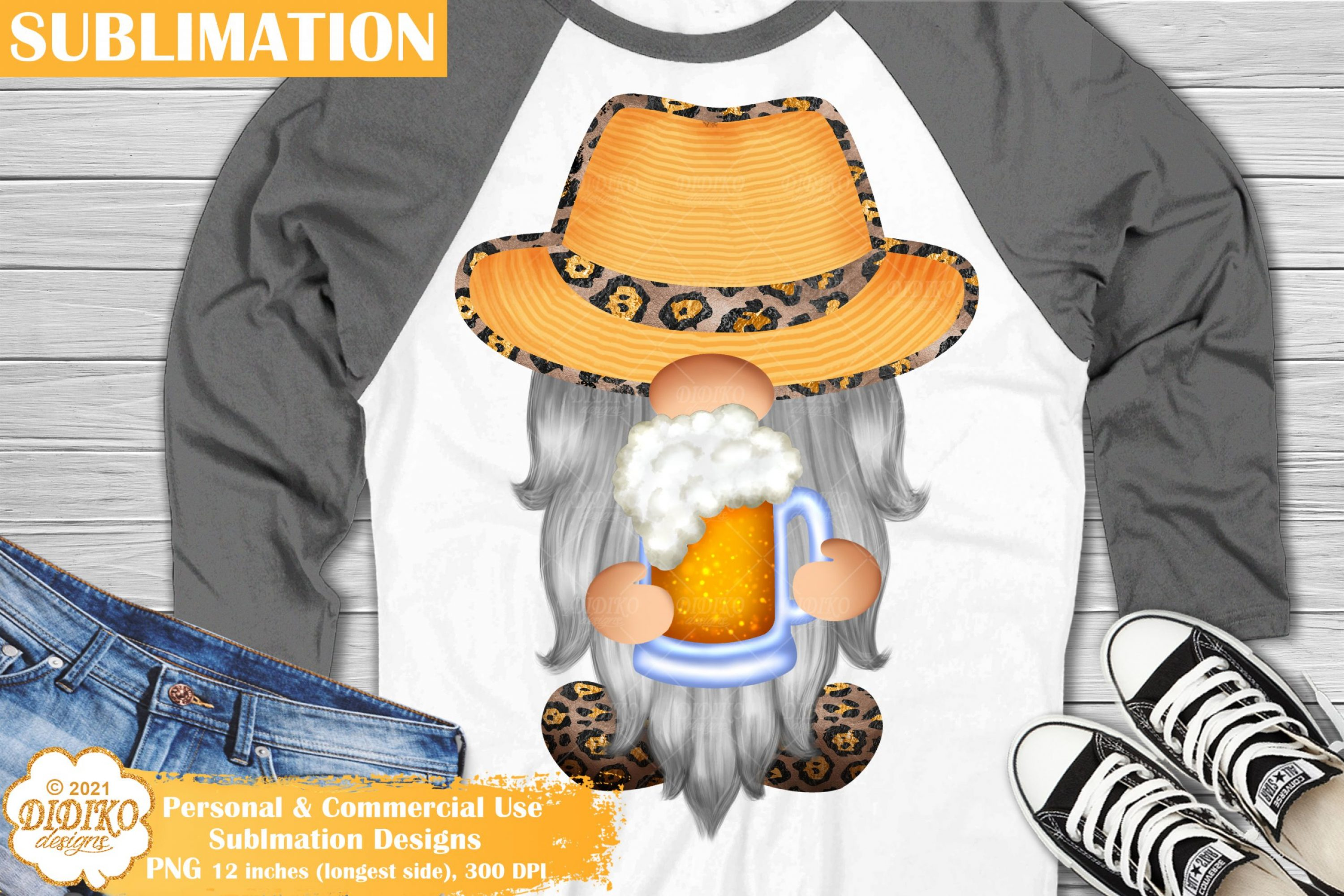 Beer Gnome Sublimation, Summer Gnome Leopard Png