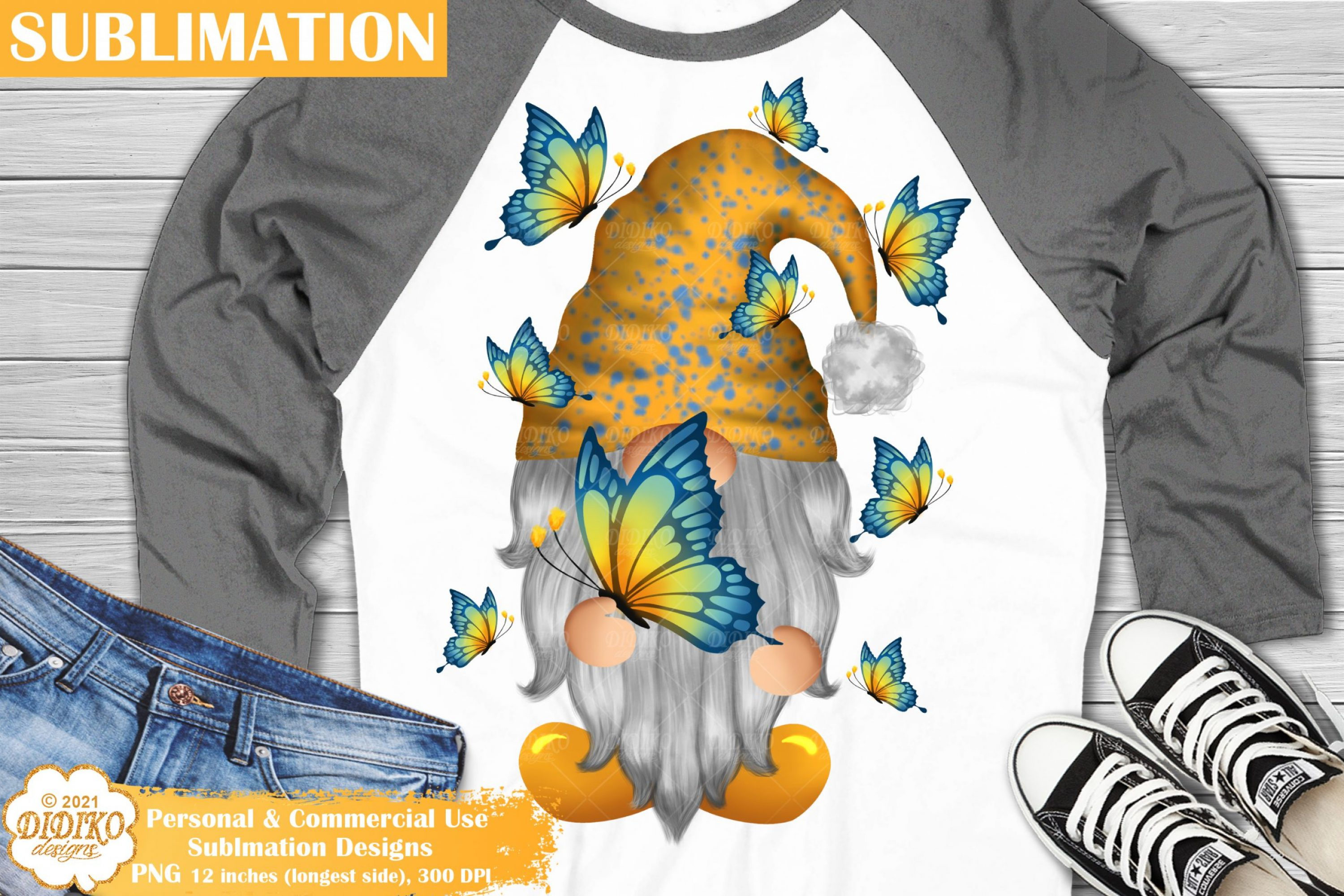 Butterfly Gnome Sublimation, Butterfly Sublimation Png