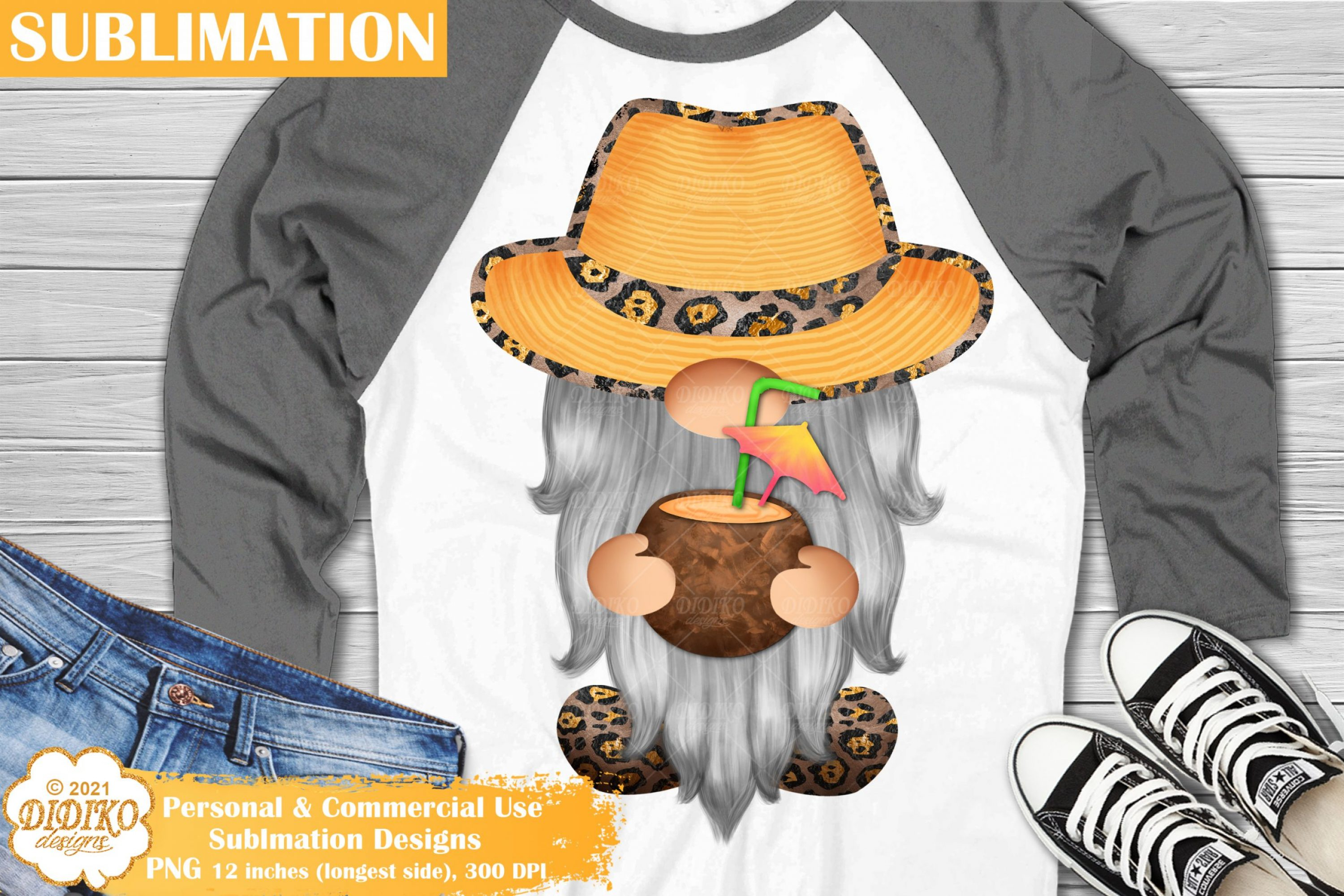 Vacation Gnome Sublimation, Summer Gnome Png