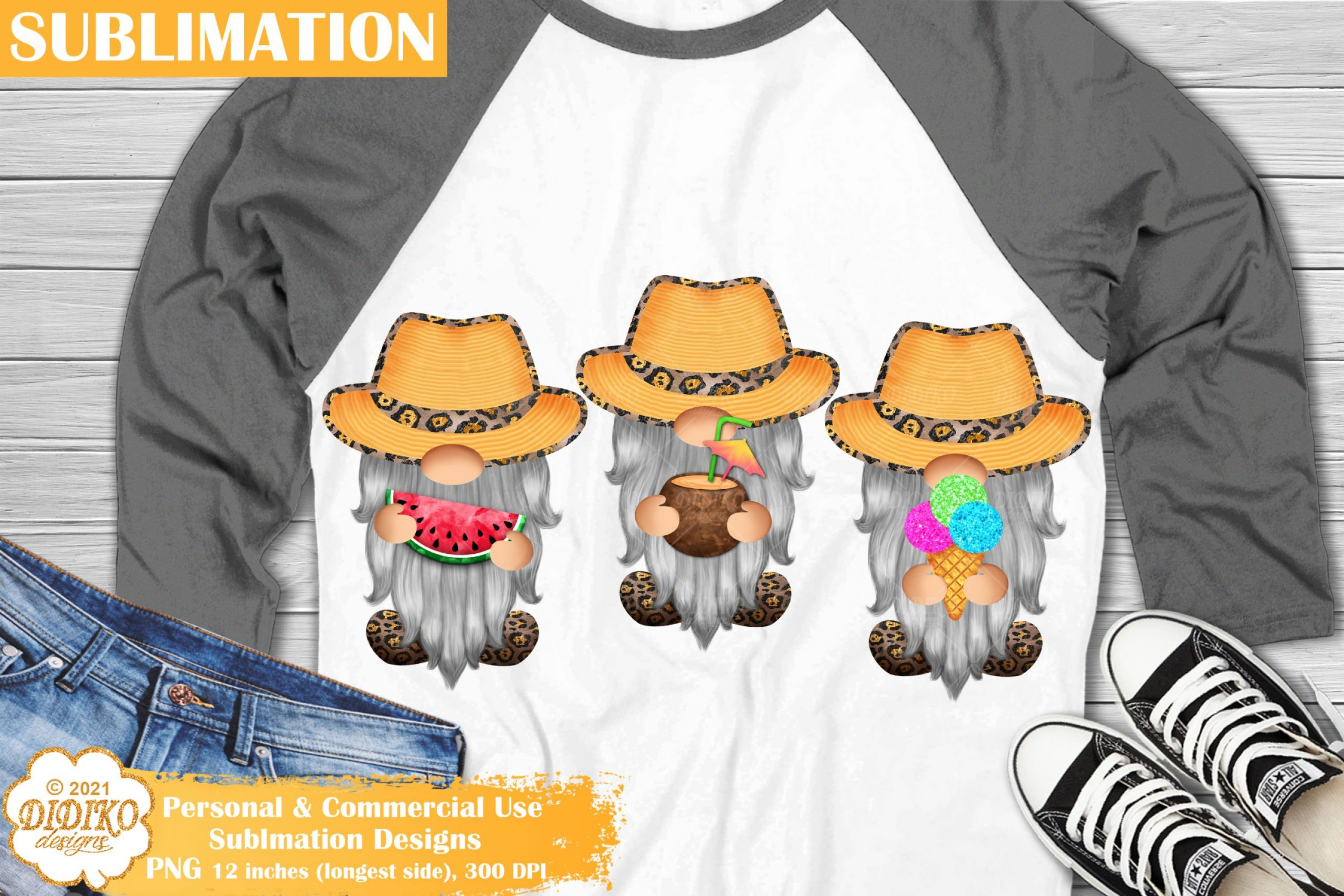 Summer Gnomes Sublimation Design, gnome clipart png